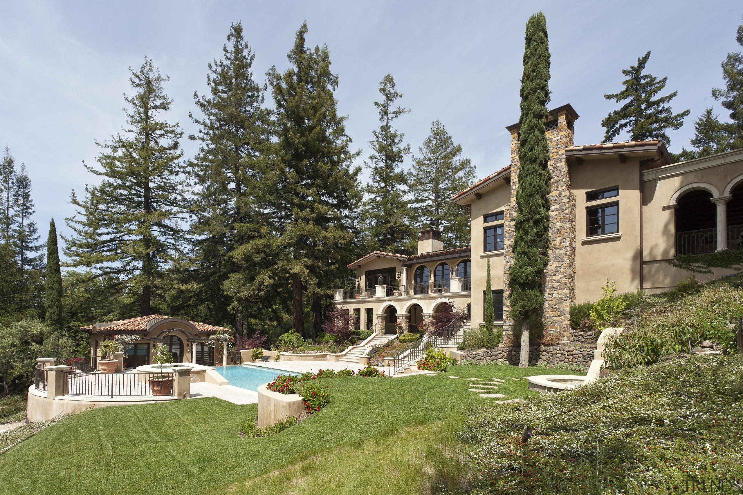 Santa Barbara-Meditteranean-style interior by Alison Whittaker cottage, estate, hacienda, home, house, mansion, property, real estate, tree, villa, brown