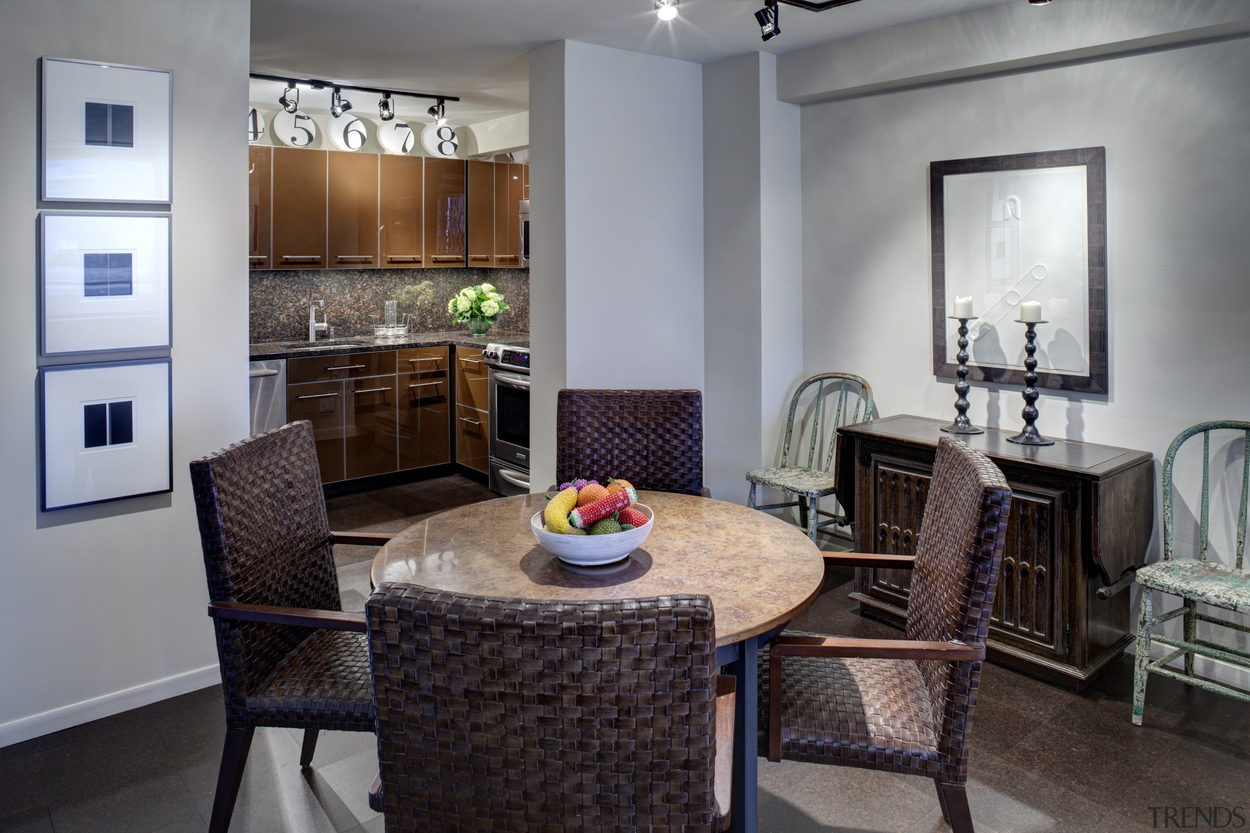 This remodeled kitchen by SemelSnow Interior Design is dining room, home, interior design, kitchen, living room, real estate, room, gray, black