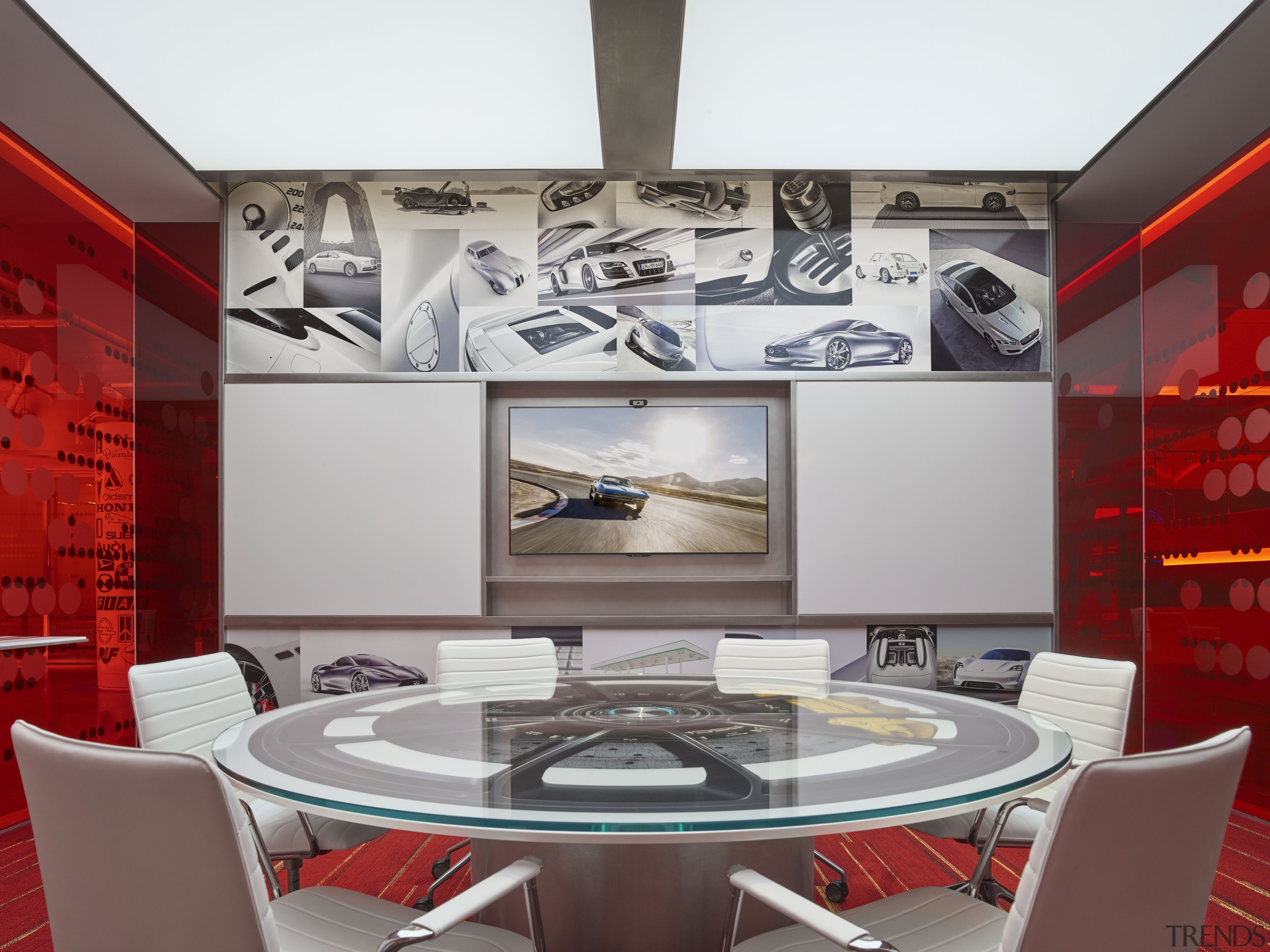 Flanking reception at Edmunds.com headquarters are four meeting ceiling, interior design, table, wall, gray, red