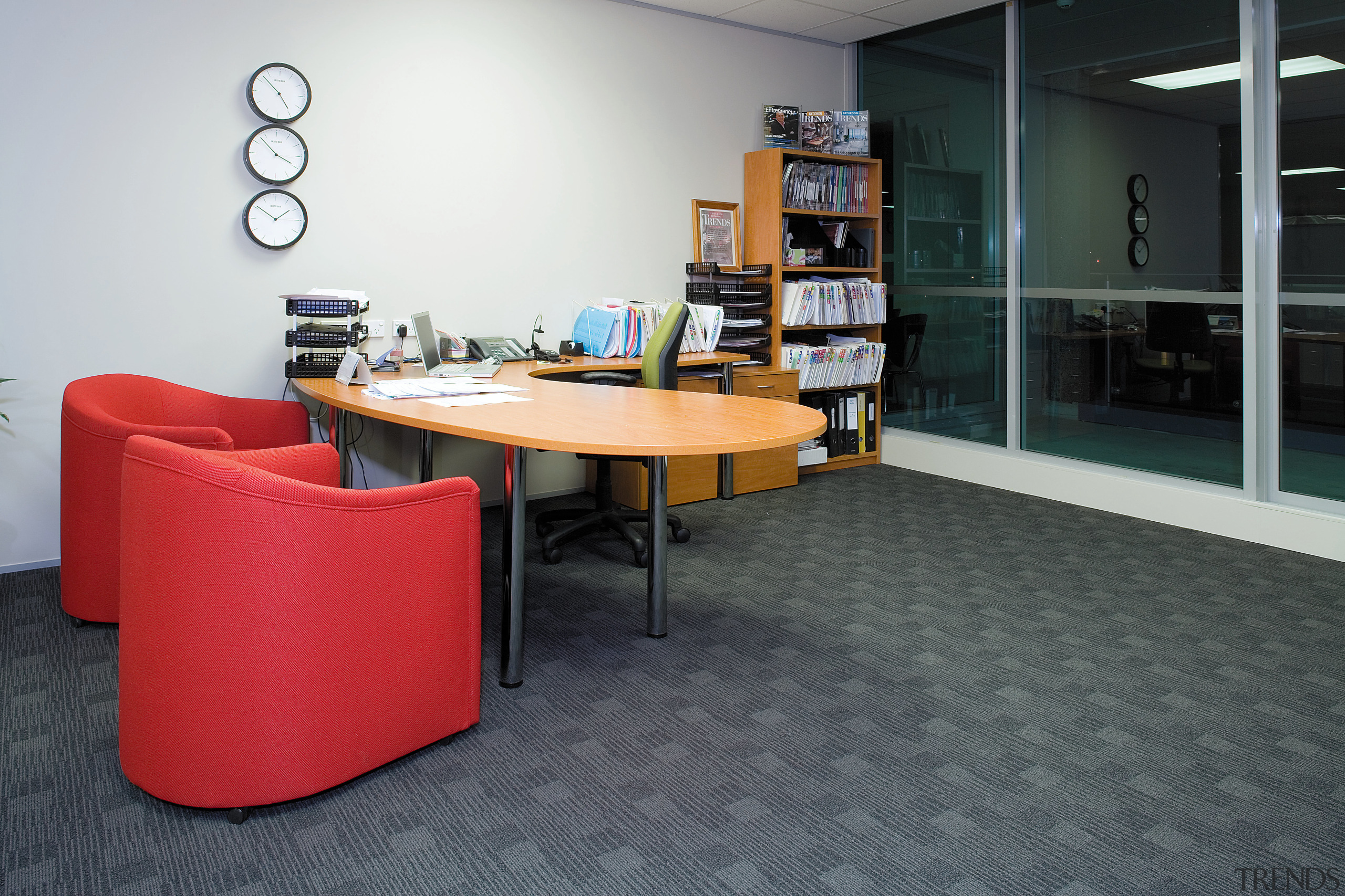 A view of the office furnishings. - A chair, desk, floor, flooring, furniture, interior design, office, product design, table, black, gray