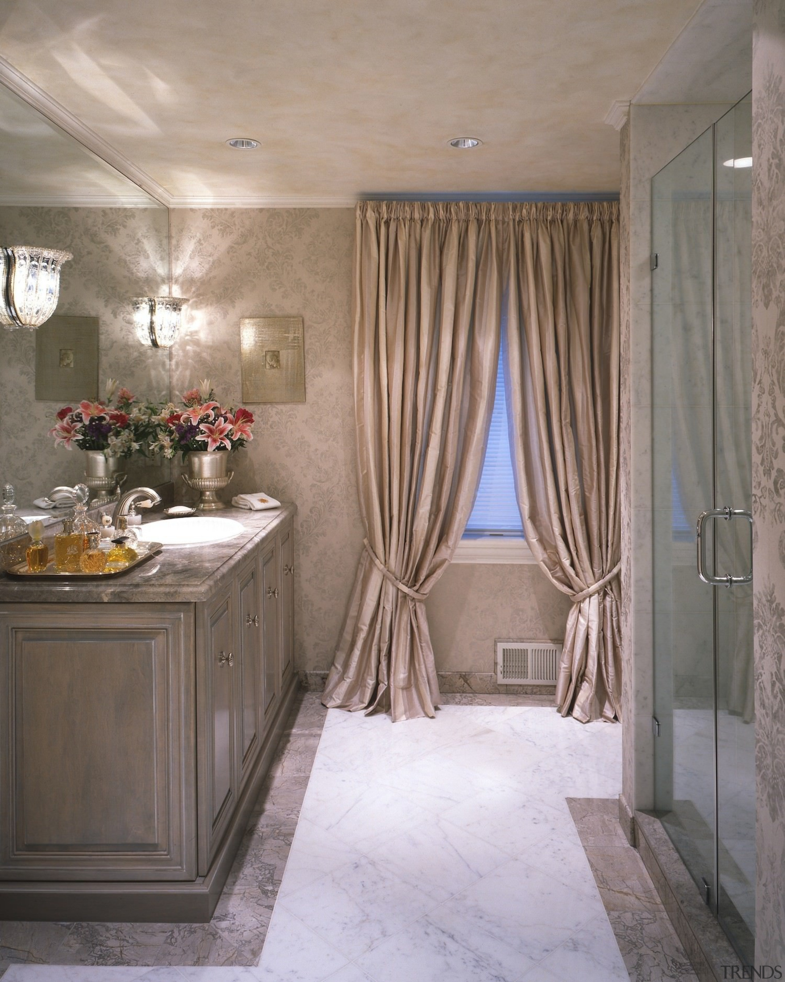 Elegant fittings line this bathroom - Elegant fittings bathroom, ceiling, curtain, floor, flooring, home, interior design, room, textile, wall, window, window covering, window treatment, gray