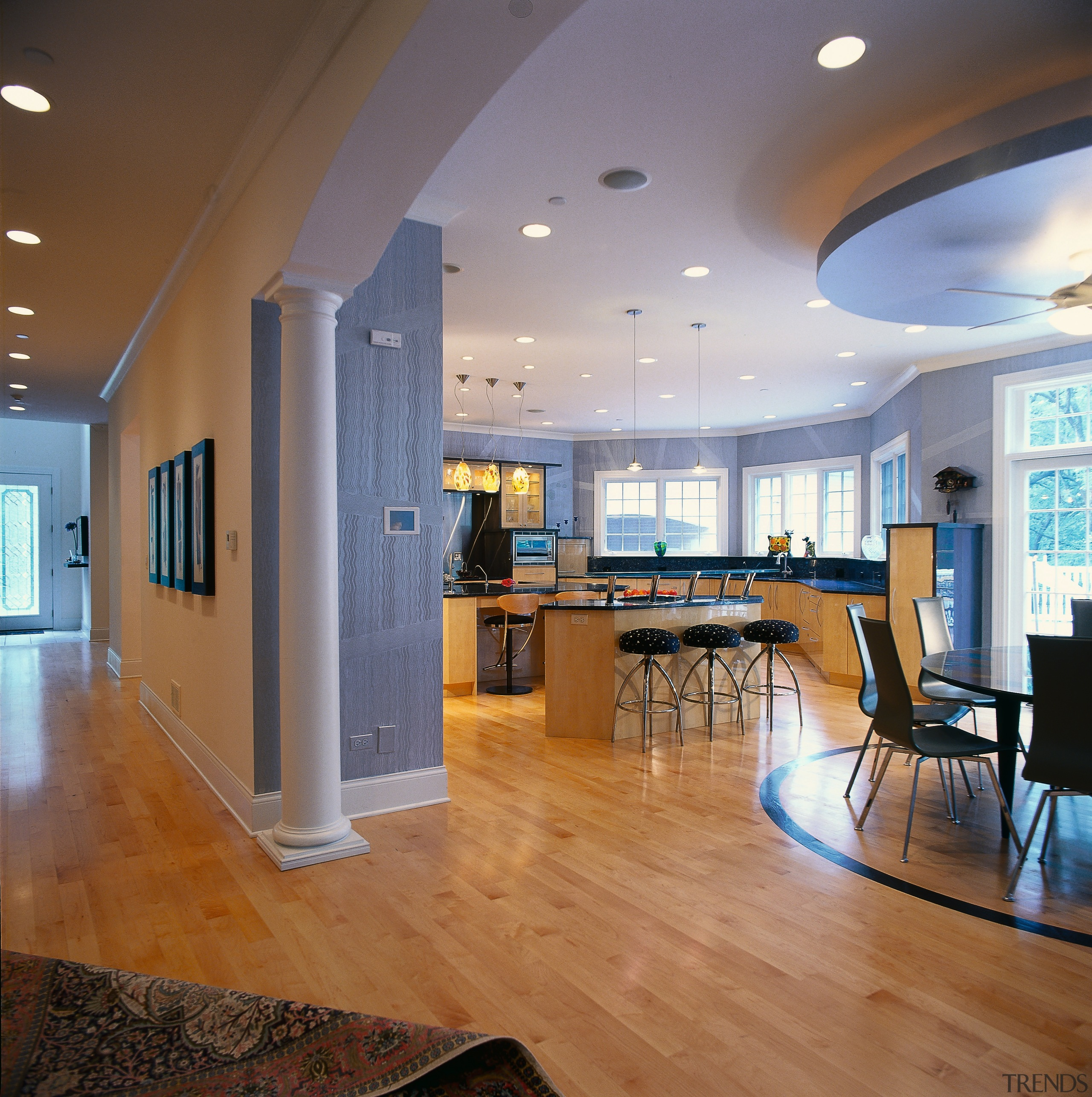 Broad view of the kitchen and dining areas ceiling, daylighting, floor, flooring, hardwood, interior design, laminate flooring, living room, lobby, real estate, room, wood flooring, brown, gray