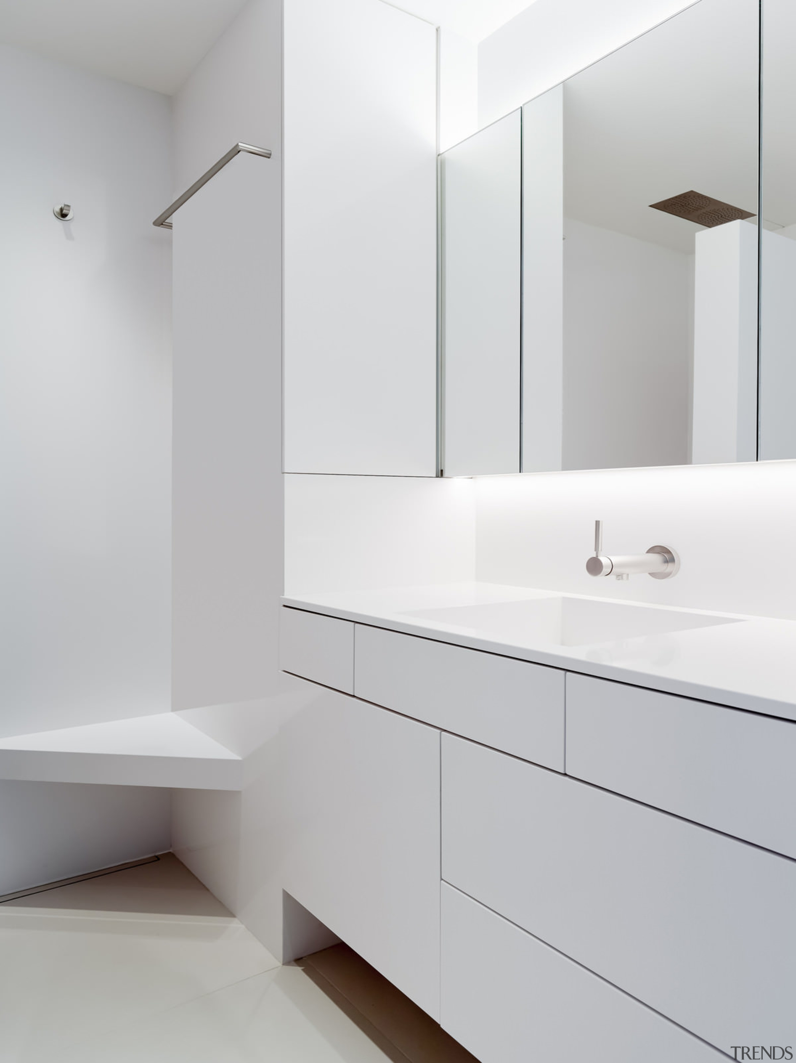 The spacious vanity with ample drawer space - architecture, bathroom, bathroom accessory, bathroom cabinet, bathroom sink, floor, interior design, plumbing fixture, product design, room, sink, tap, wall, gray, white