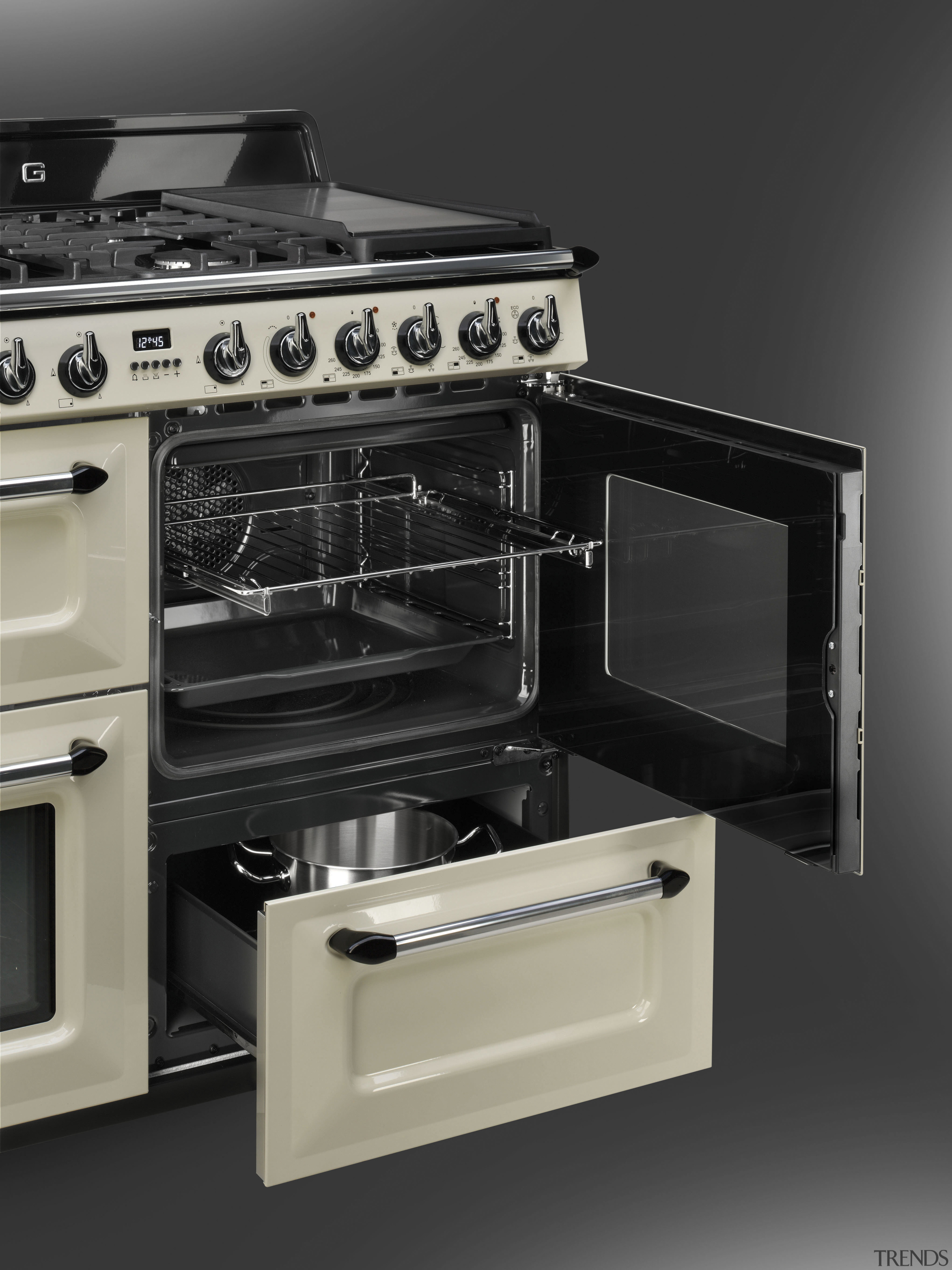 The 90cm-wide Victoria is also available in an gas stove, home appliance, kitchen appliance, kitchen stove, major appliance, microwave oven, oven, black, gray