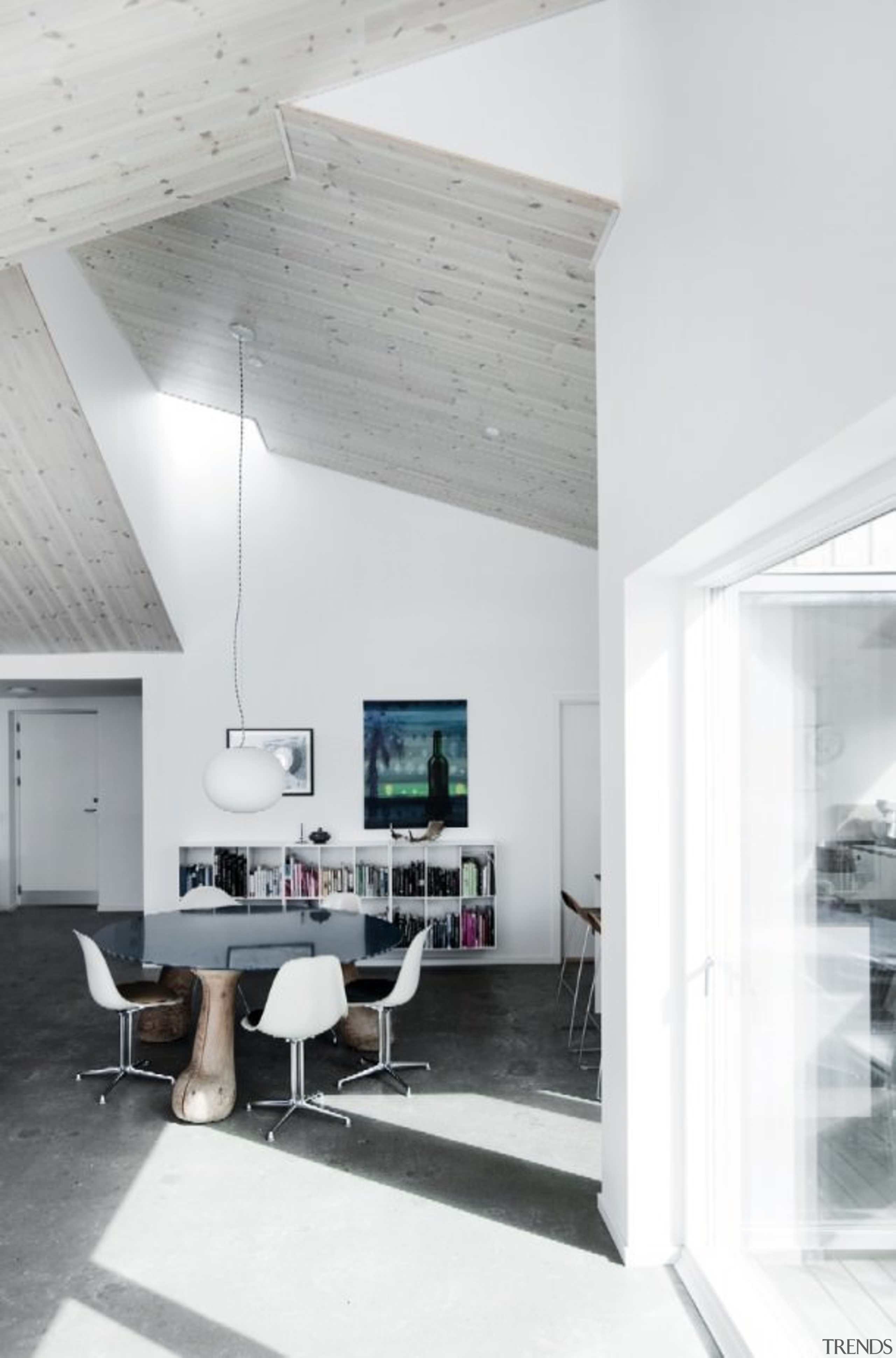 Architect: Sigured LarsenPhotography by Tia Borgsmidt architecture, ceiling, daylighting, floor, house, interior design, living room, product design, table, white, gray
