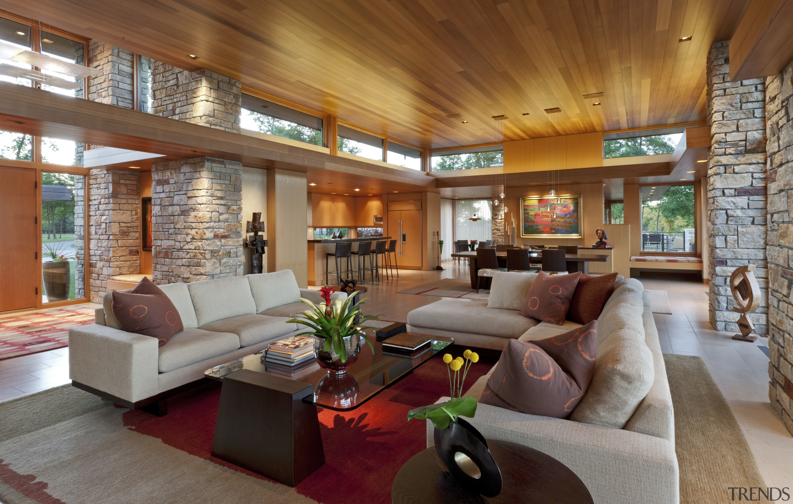 timber roofs, white couches, red rug in centre ceiling, estate, home, house, interior design, living room, lobby, real estate, room, brown, gray