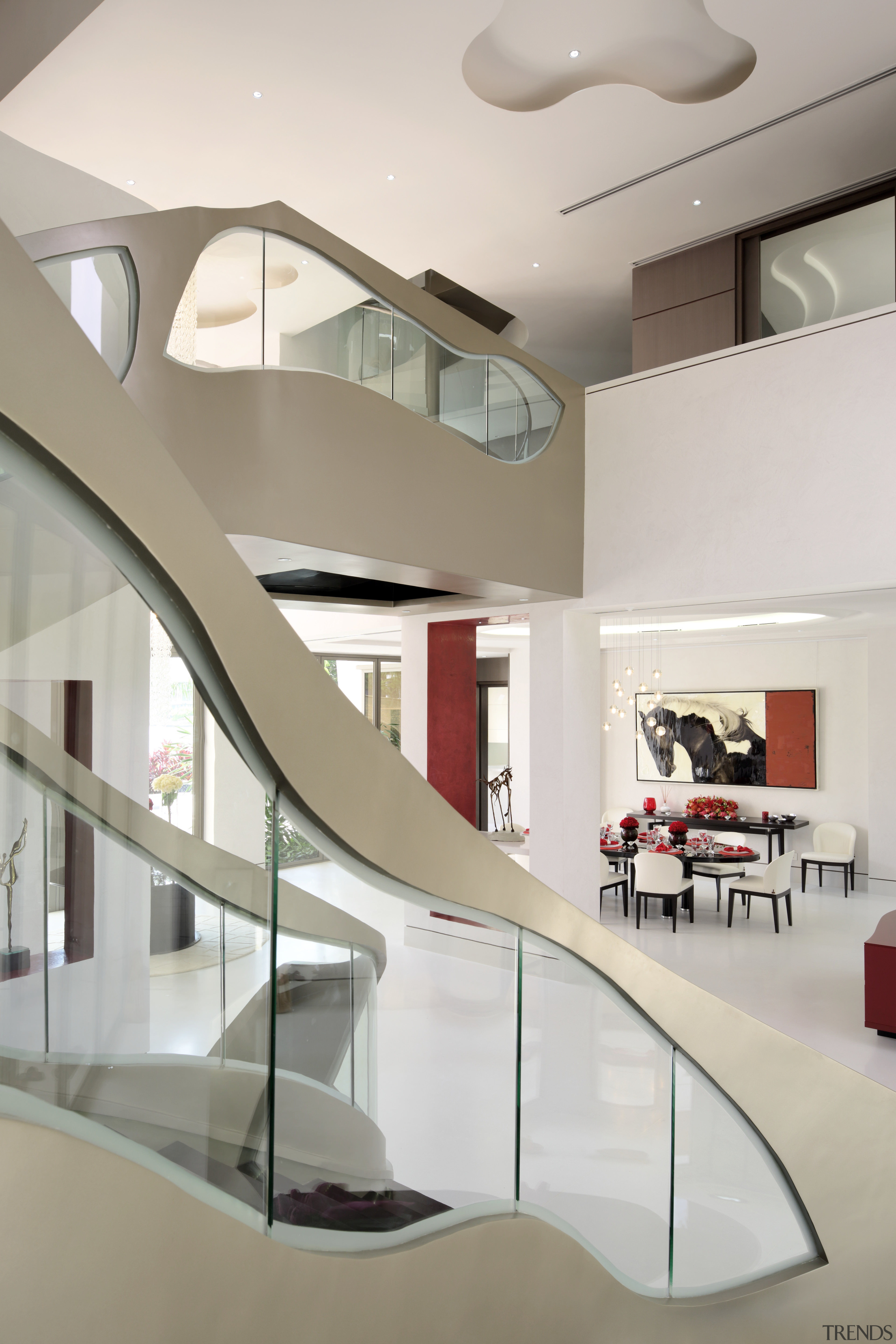 Templates for these organic glass balustrade windows were architecture, ceiling, daylighting, house, interior design, product design, stairs, table, gray