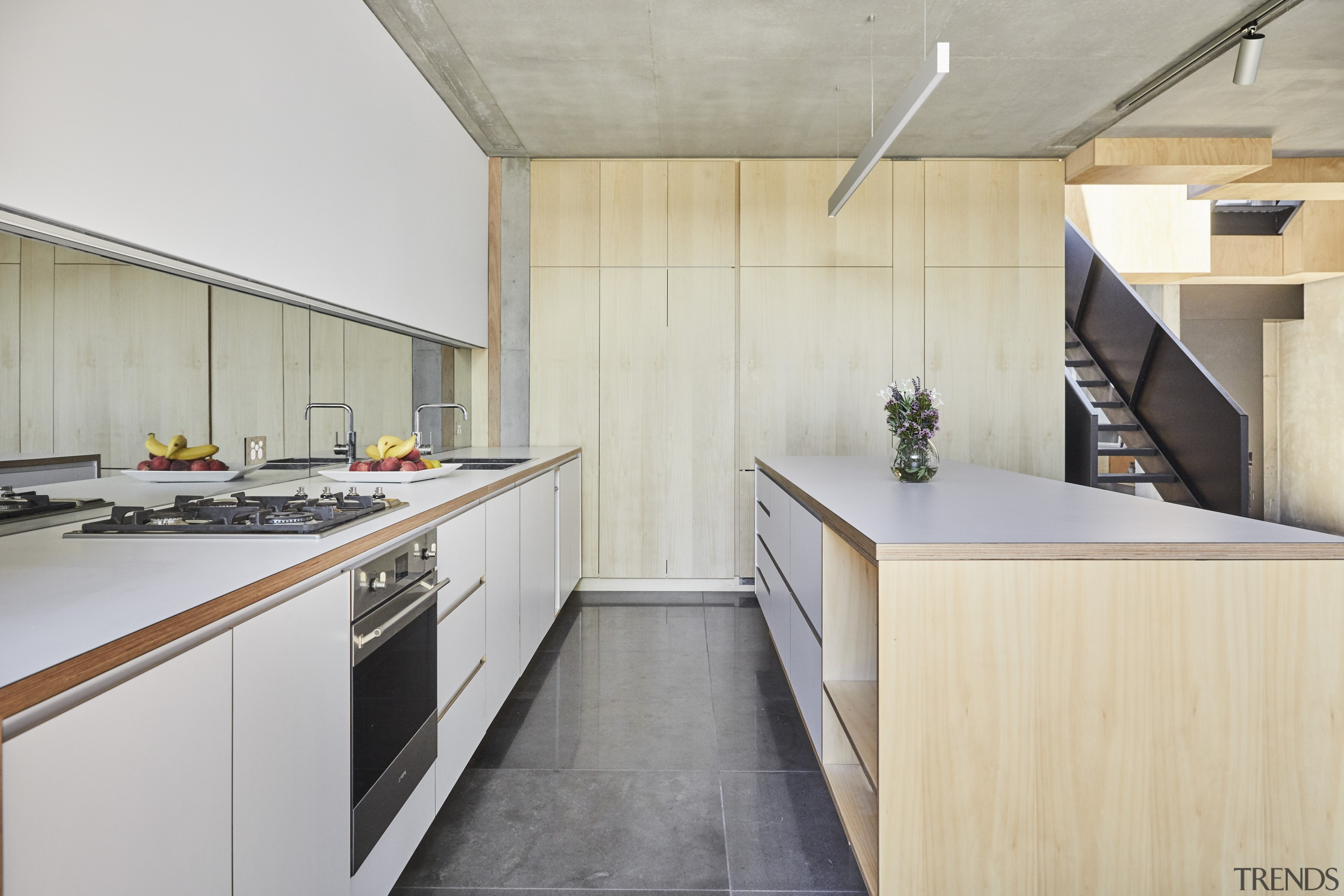 ​​​​​​​This kitchen's lighting is all LED with a architecture, building, cabinetry, ceiling, countertop, floor, flooring, furniture, home, house, interior design, kitchen, loft, material property, plywood, property, real estate, room, wood, yellow, gray