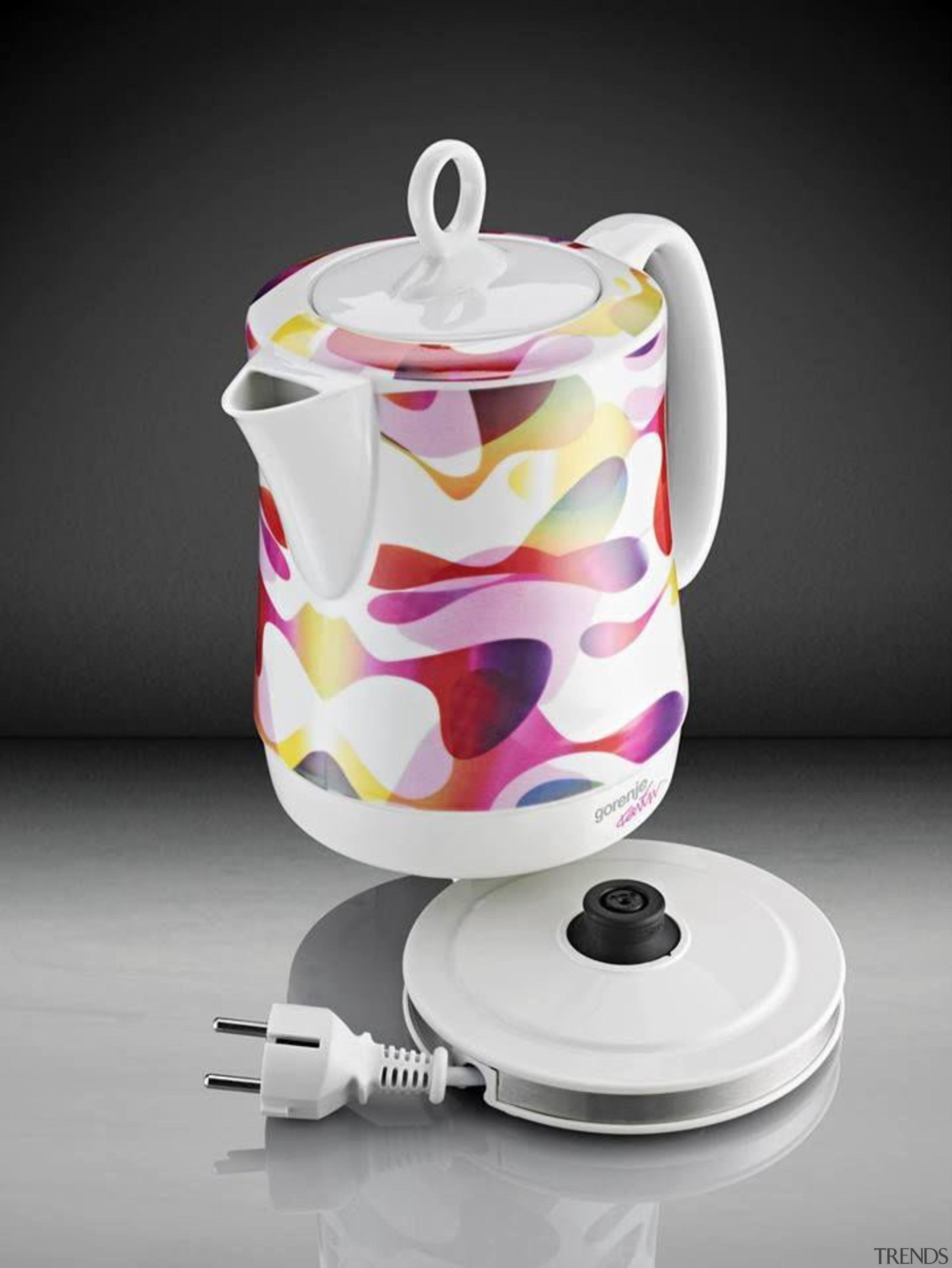 Kitchen Appliances designed by Karim Rashid - Watter ceramic, coffee cup, cup, kettle, porcelain, product, product design, serveware, tableware, teapot, gray, black