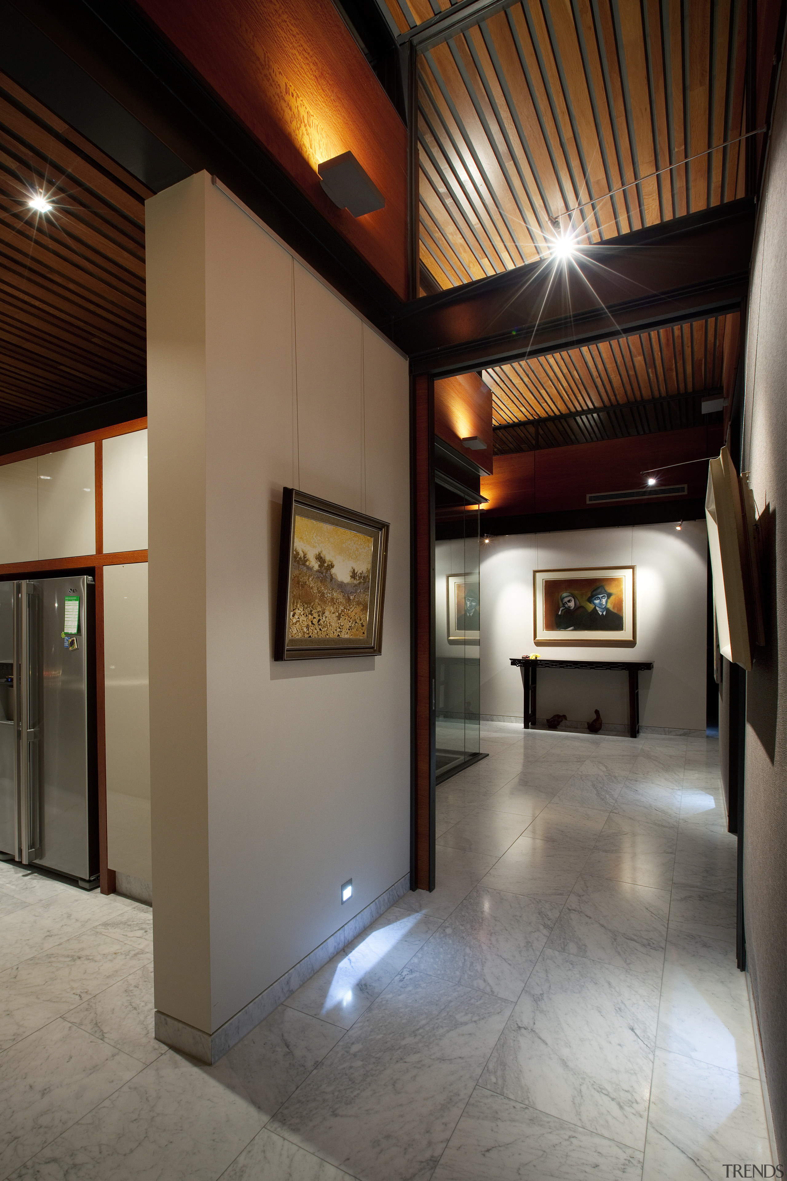 This house was designed by architect Martin Grounds architecture, ceiling, interior design, lobby, real estate, gray, black