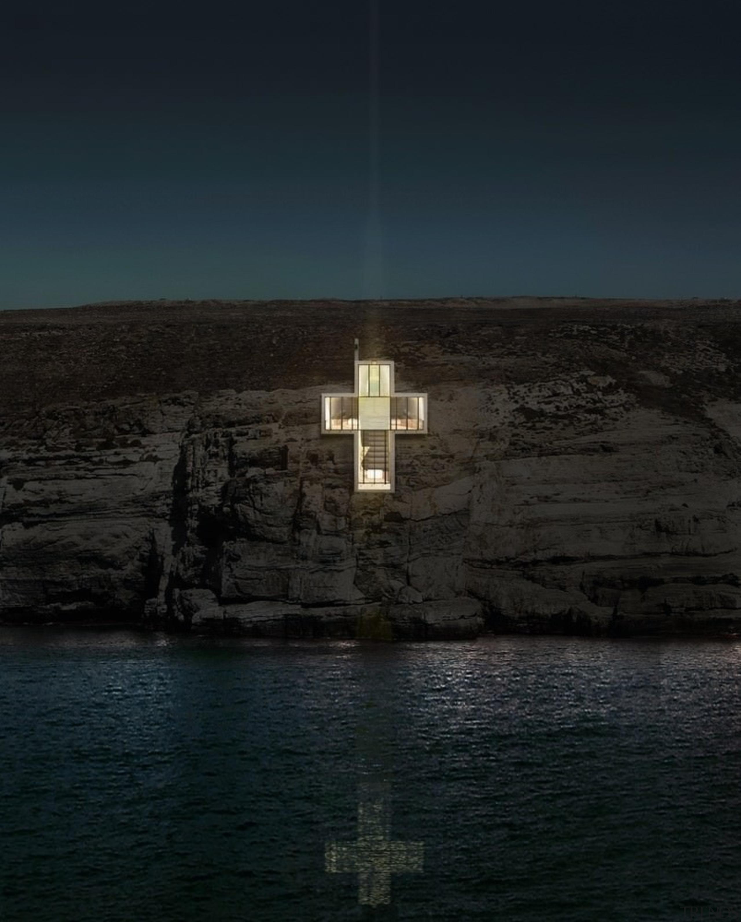 Lux Aeterna / Holy Cross Chapel: Images calm, darkness, horizon, reflection, sea, sky, terrain, water, black