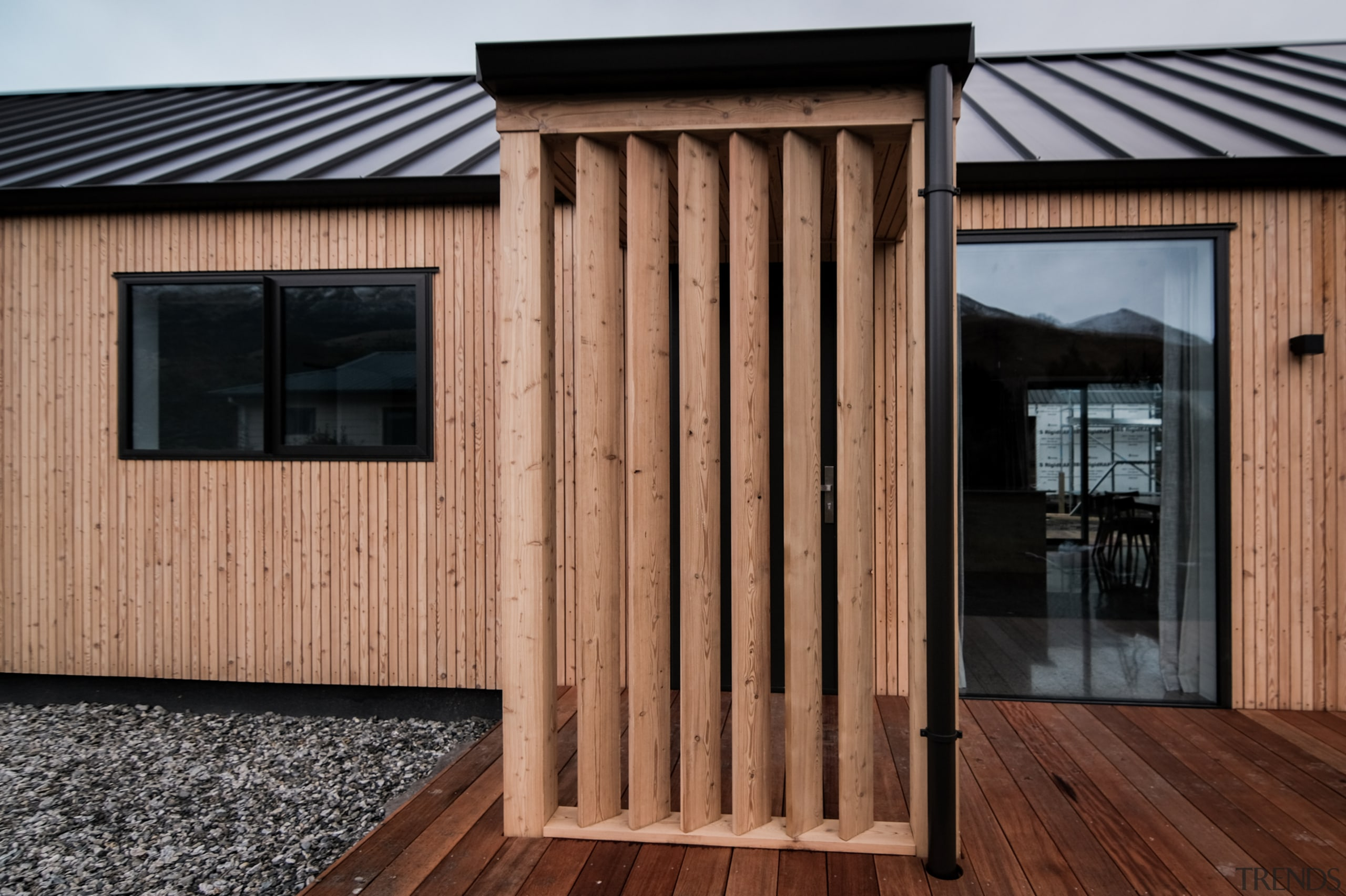 The imported Siberian larch cladding is custom milled