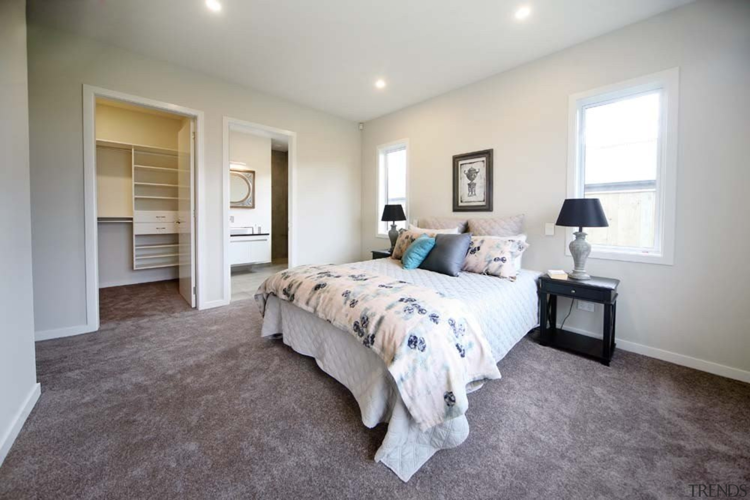 Master bedroom suite with walk in wardrobe and bed frame, bedroom, ceiling, estate, floor, flooring, home, house, interior design, property, real estate, room, wall, window, wood, gray