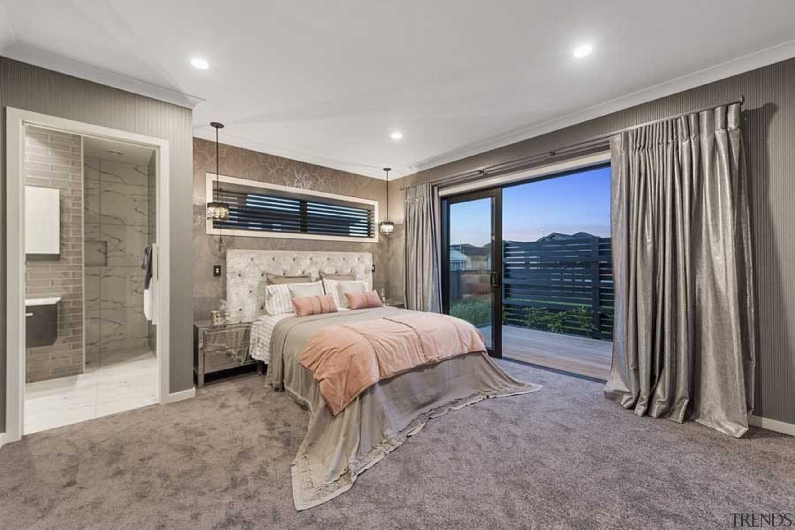 This master suite had a real sense of bedroom, ceiling, estate, home, interior design, property, real estate, room, window, gray