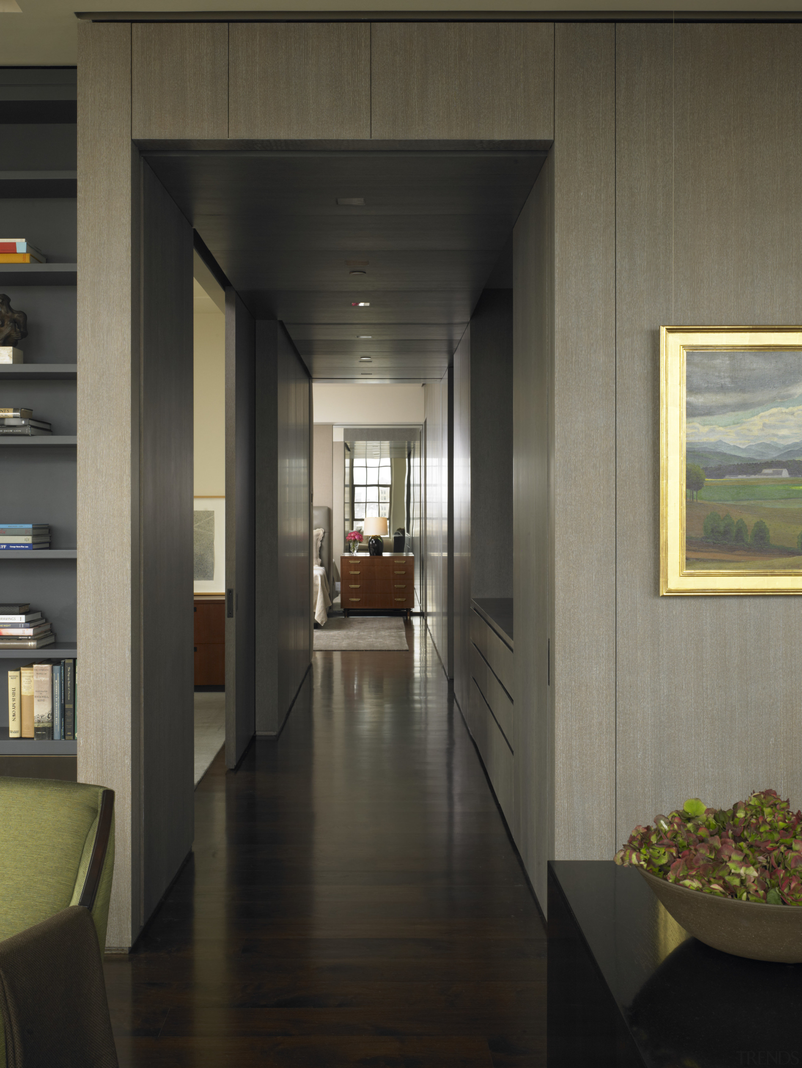 View of this contemporary apartment that has been architecture, floor, house, interior design, lobby, black, gray