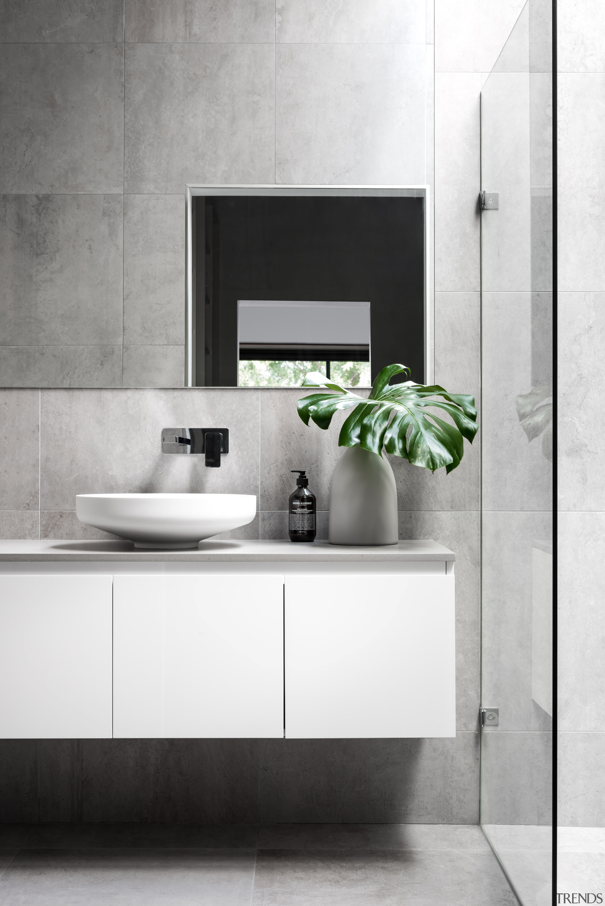 This new master ensuite in a reworked and bathroom, bathroom accessory, bathroom cabinet, ceramic, countertop, floor, interior design, product, product design, sink, tap, white, gray