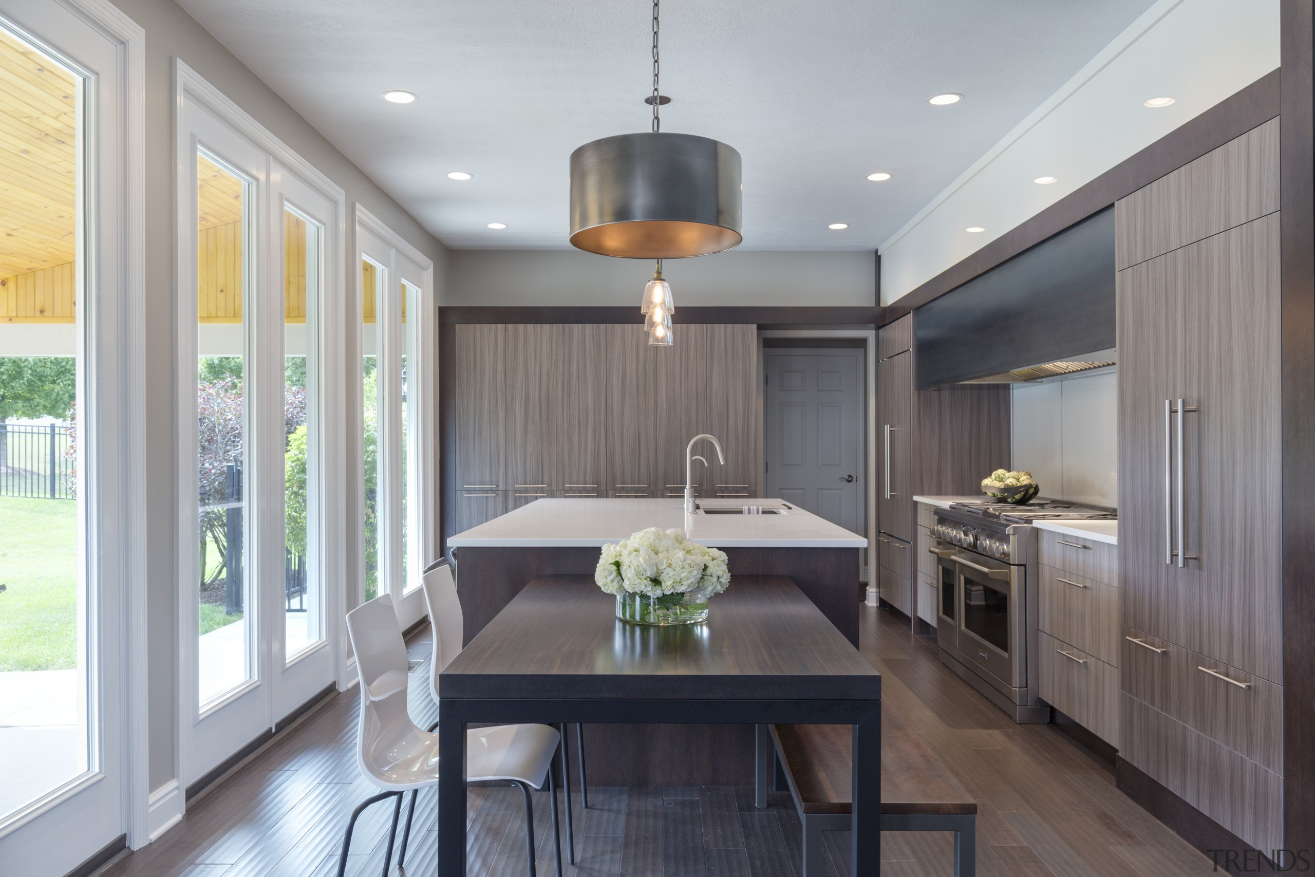 Layer upon layer  this kitchens various elements cabinetry, ceiling, countertop, cuisine classique, dining room, interior design, kitchen, real estate, room, gray