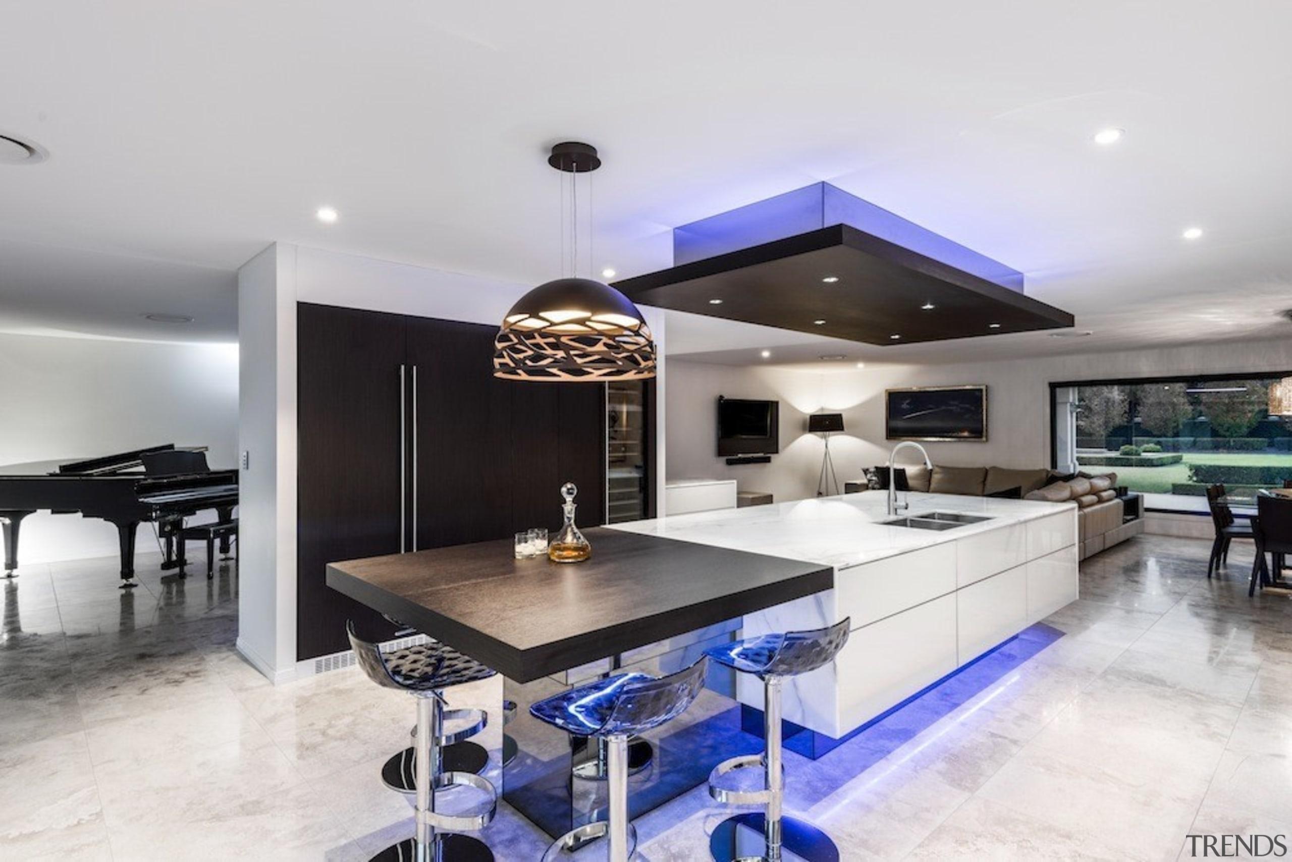 A focus on lighting – Kitchen by designer countertop, interior design, kitchen, property, real estate, white, gray