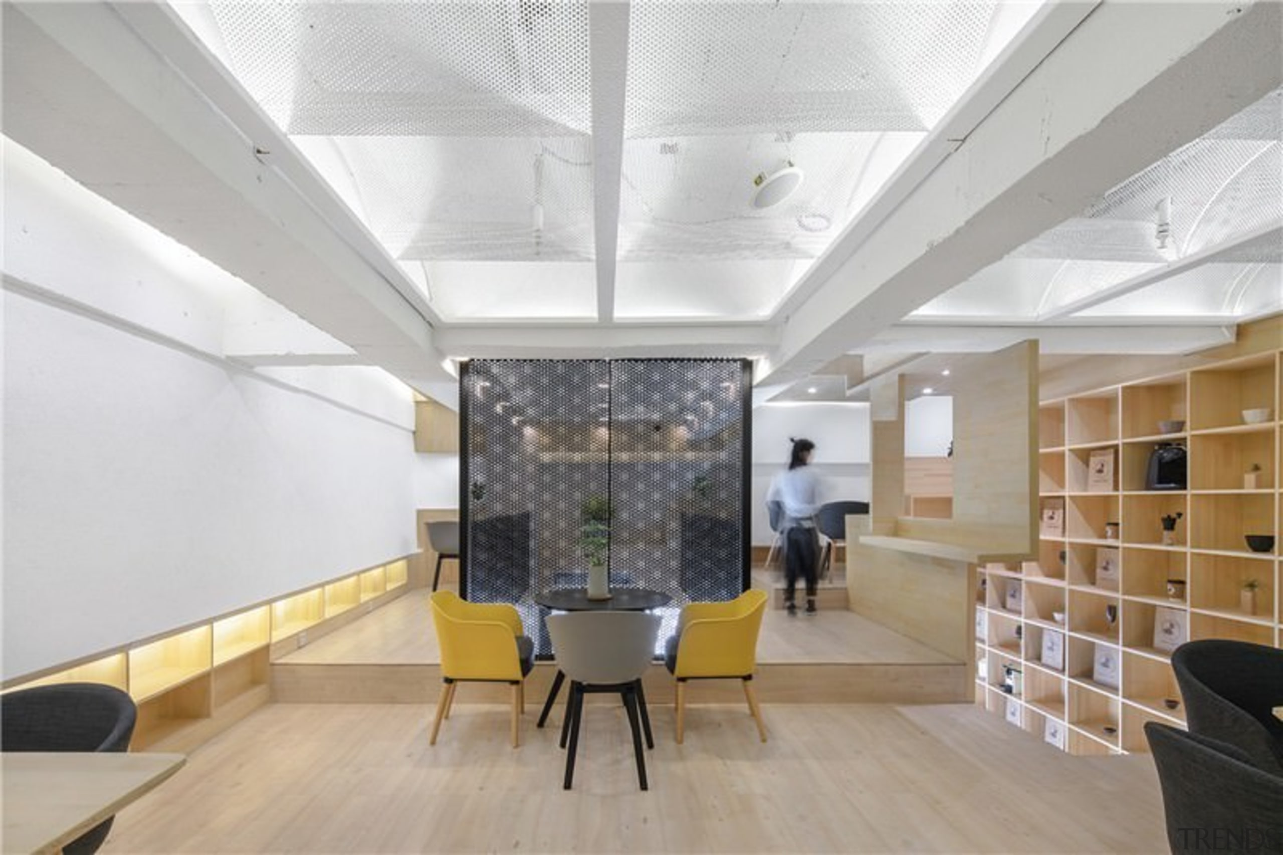 Useful shelving lines the stairway, while a split architecture, ceiling, daylighting, interior design, lobby, office, gray