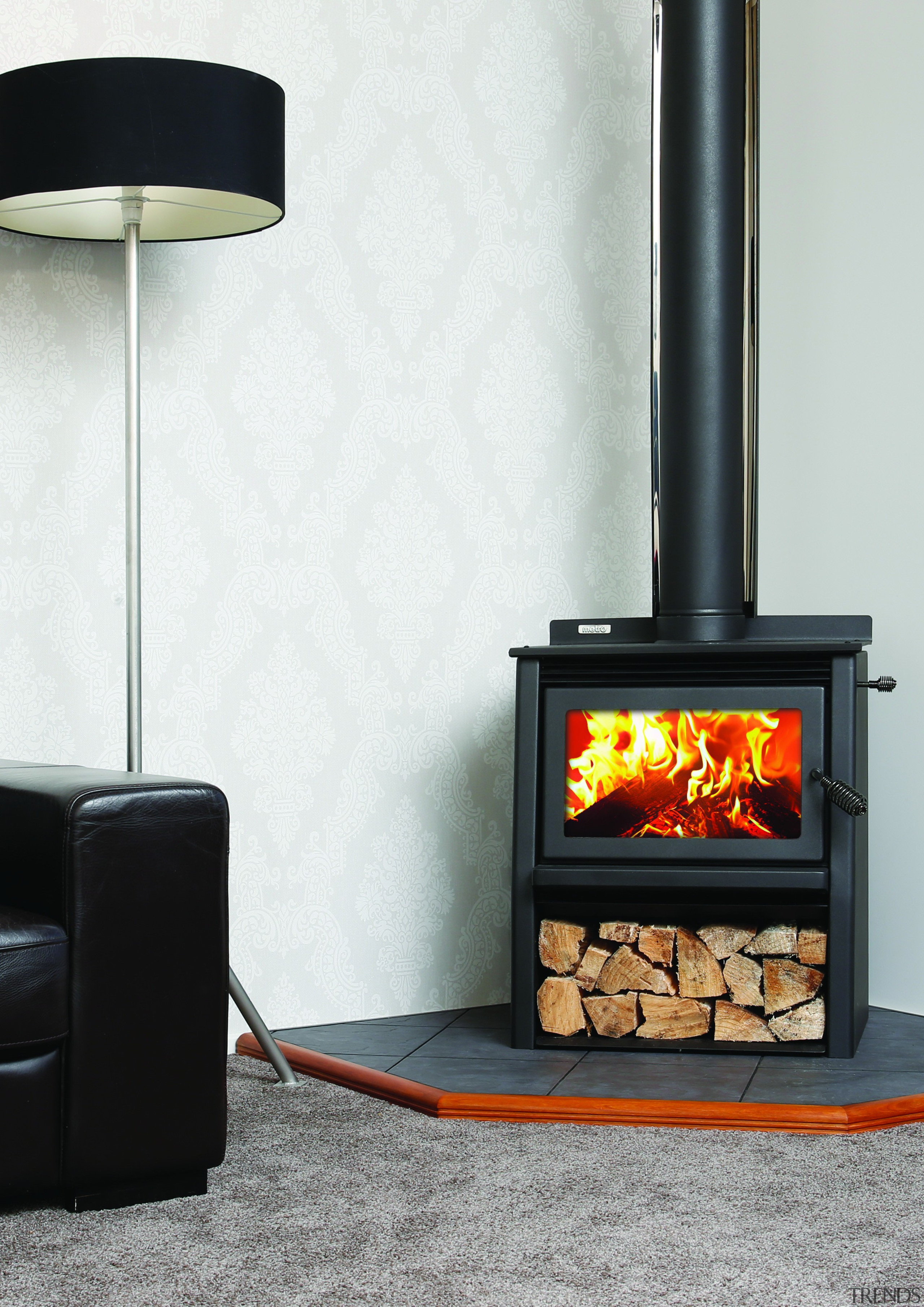 Metro Fires Wee Rad Woody 15kW Fire - hearth, heat, home appliance, stove, wood burning stove, white