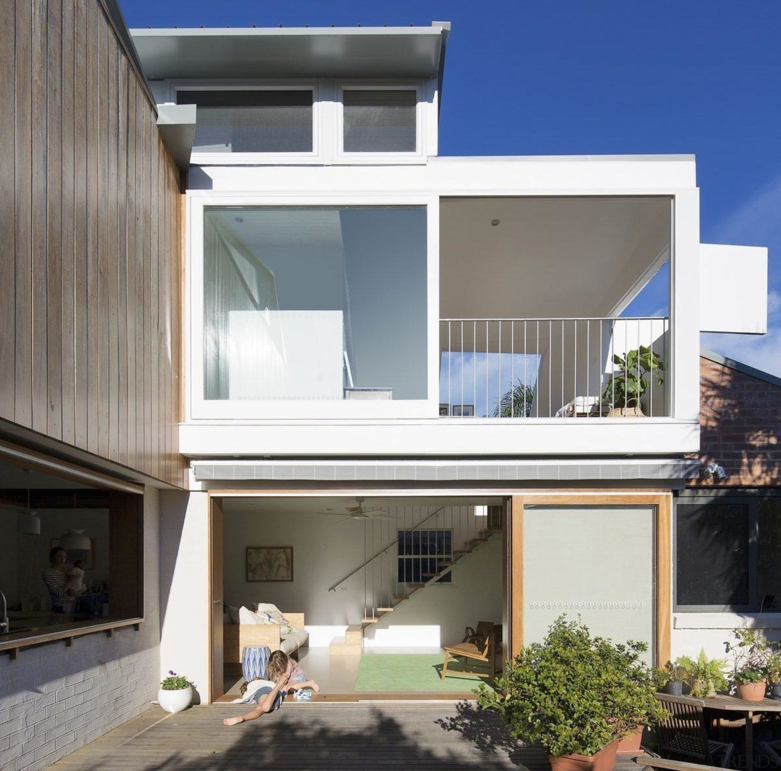 The architects certainly pulled off an impressive renovation architecture, building, elevation, facade, home, house, property, real estate, residential area, roof, blue