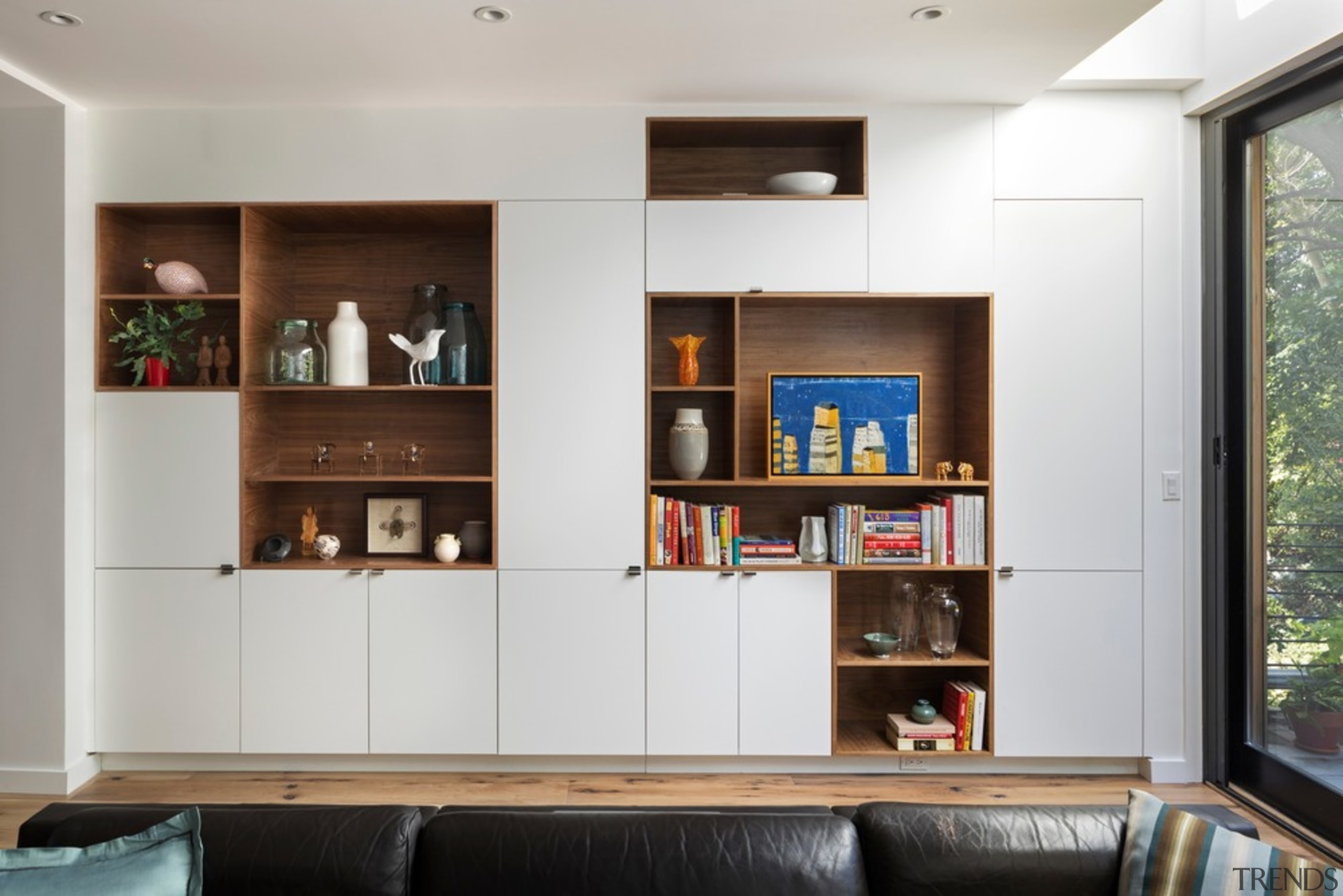 Living room 2 - architecture | bookcase | architecture, bookcase, building, cabinetry, ceiling, couch, floor, furniture, home, house, interior design, living room, room, shelf, shelving, table, wall, wood, white