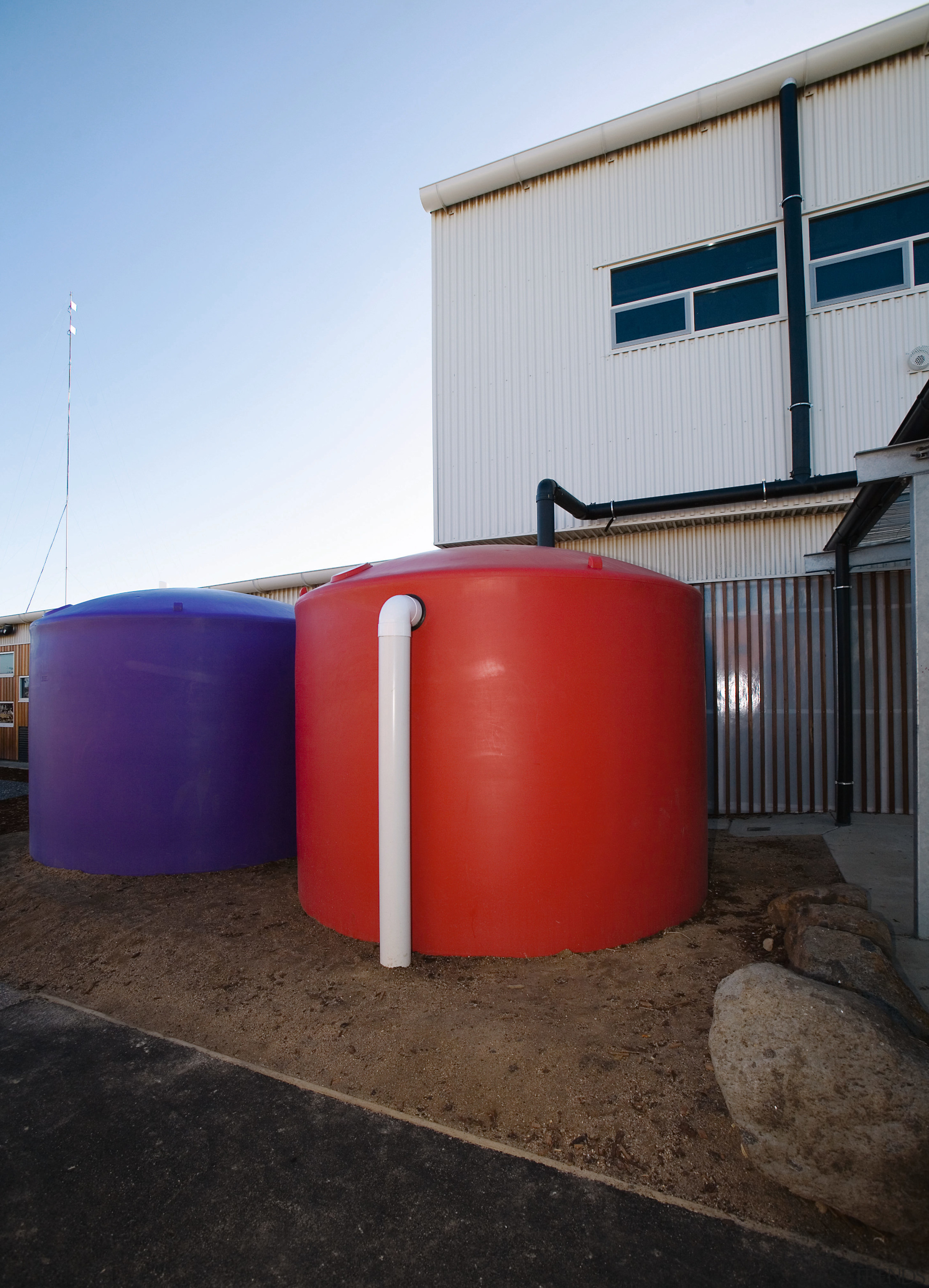 View of Williamstown High School in Melbourne. Designed architecture, house, storage tank, water tank, black, white