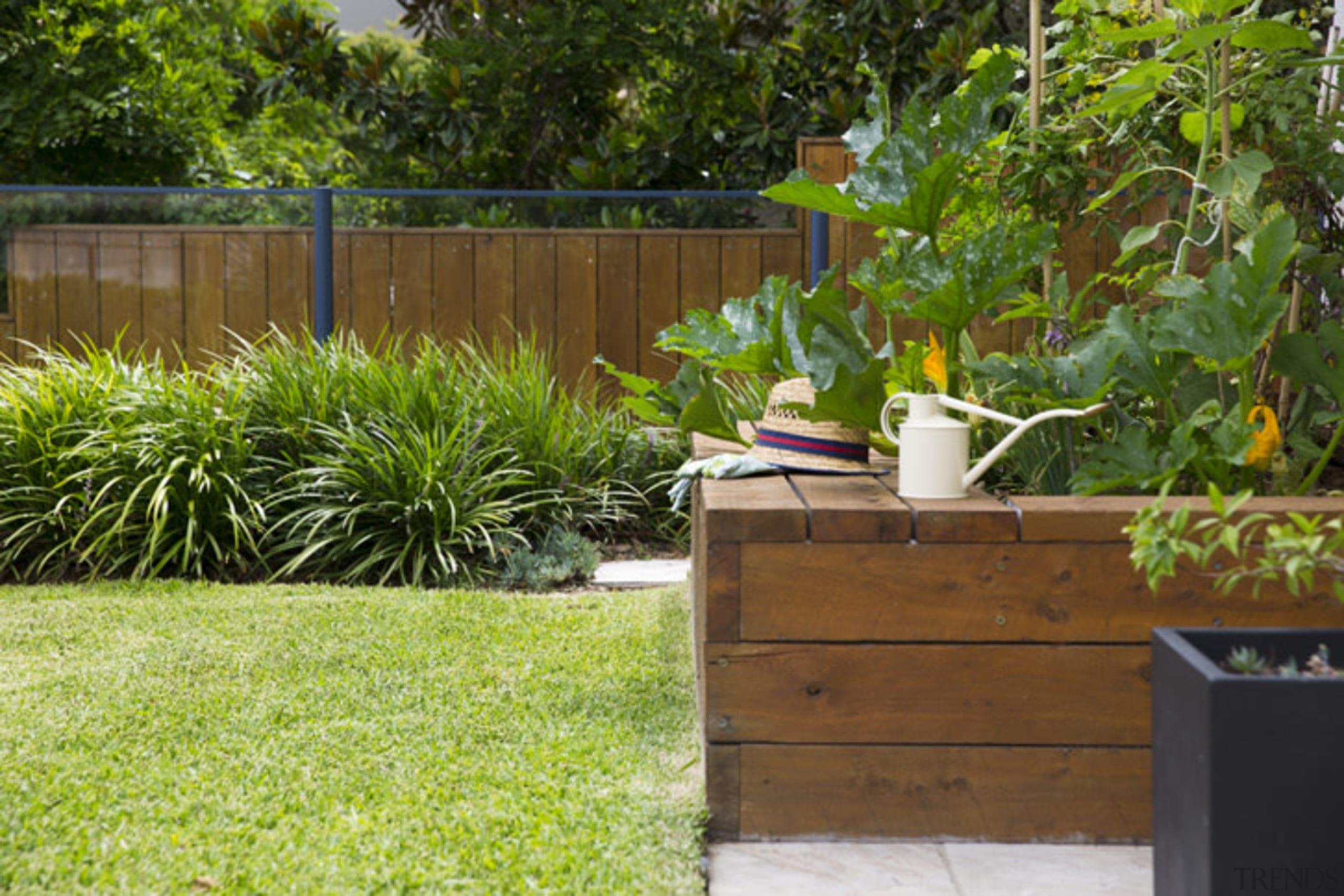 Vegie Patch By Landart Landscapes Credit Jason Busch backyard, fence, garden, grass, landscape, landscaping, lawn, outdoor structure, plant, walkway, wood, yard, brown