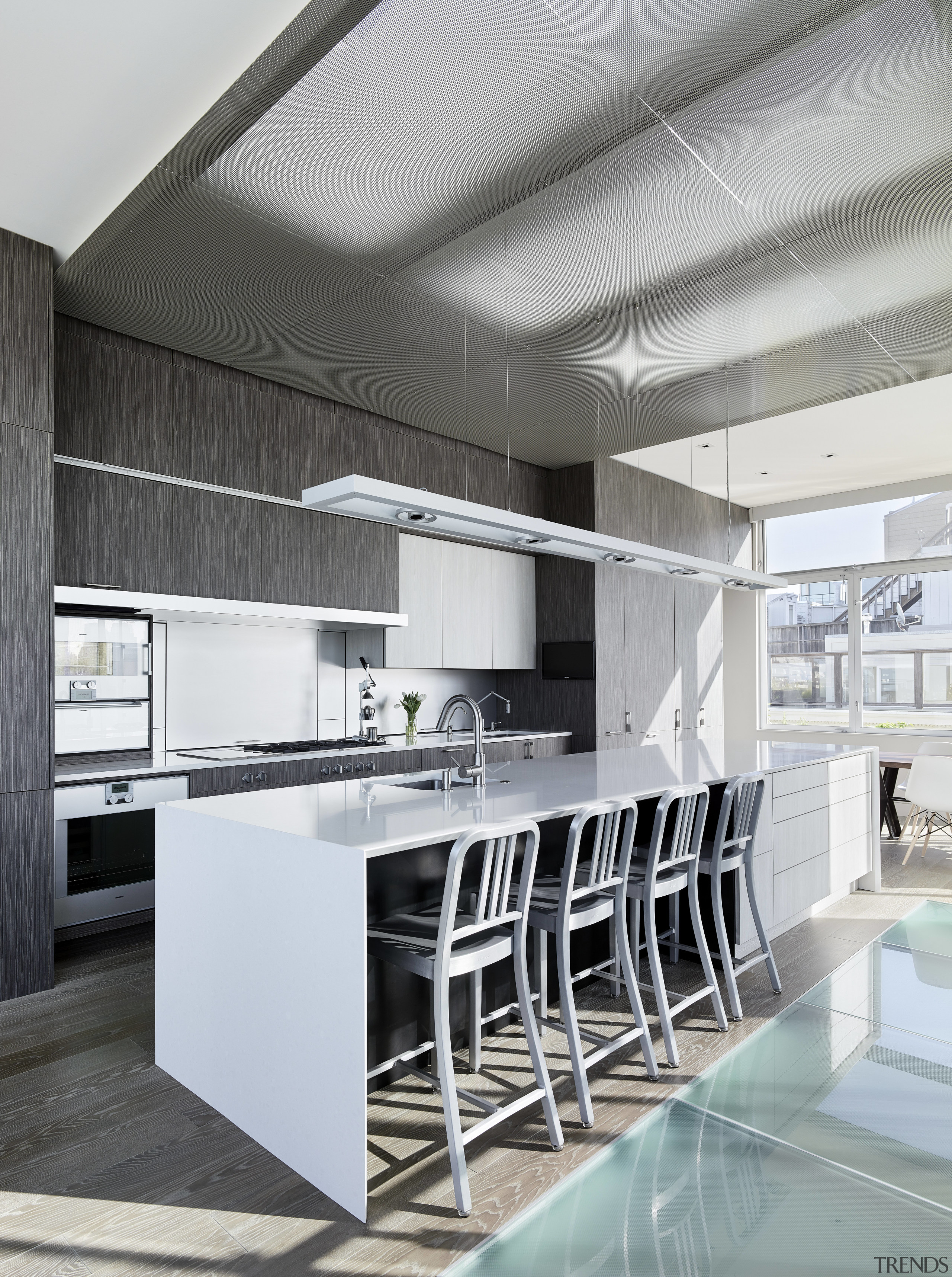 Concealed skylights provide a diffuse light for this architecture, countertop, interior design, kitchen, product design, white, gray