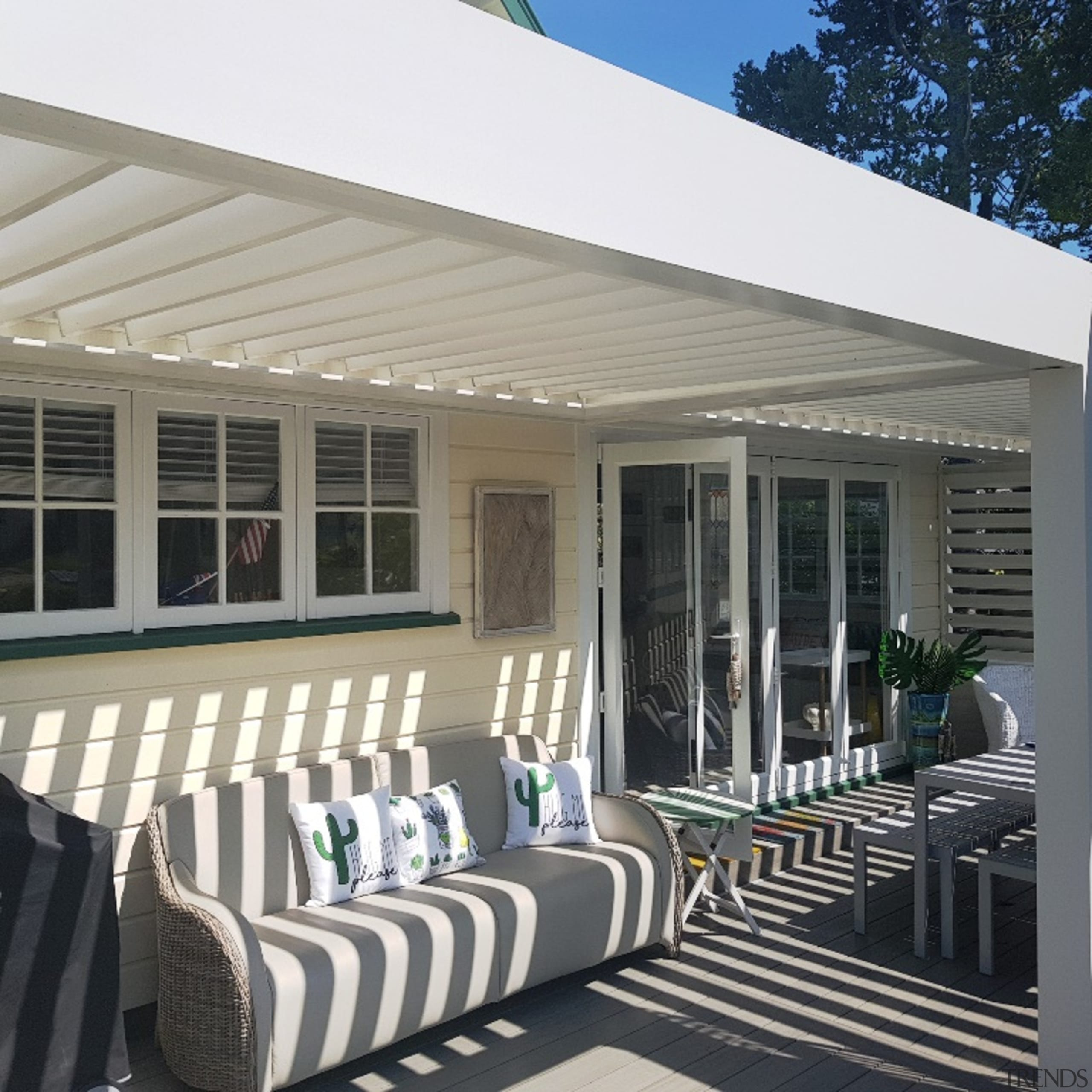 Outdoor Room creates more space for large, extended architecture, awning, building, deck, furniture, home, house, outdoor structure, patio, porch, property, real estate, roof, room, shade, siding, gray, black
