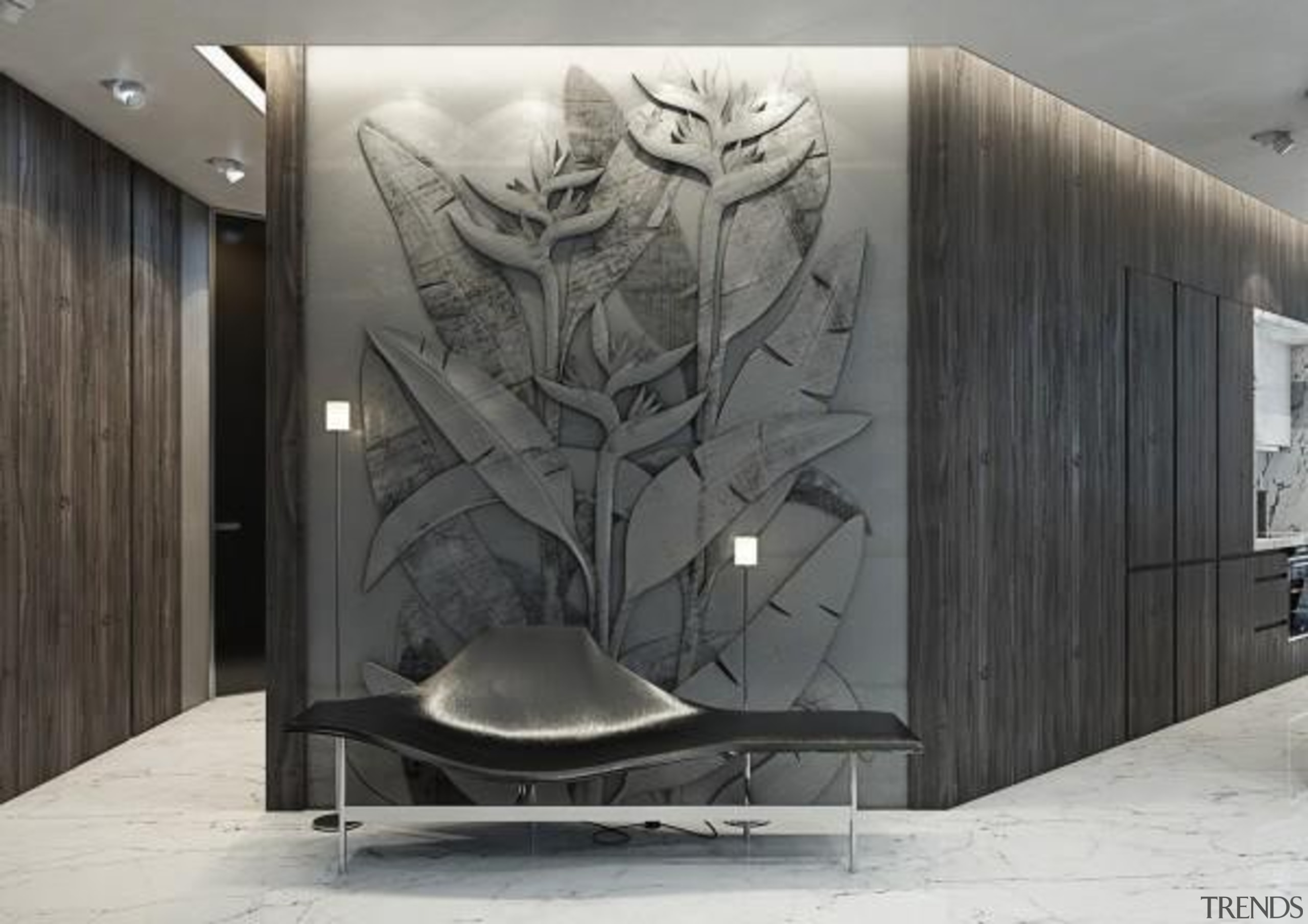 bird of paradise design - Masculine Apartments - mural, product design, wall, gray, black