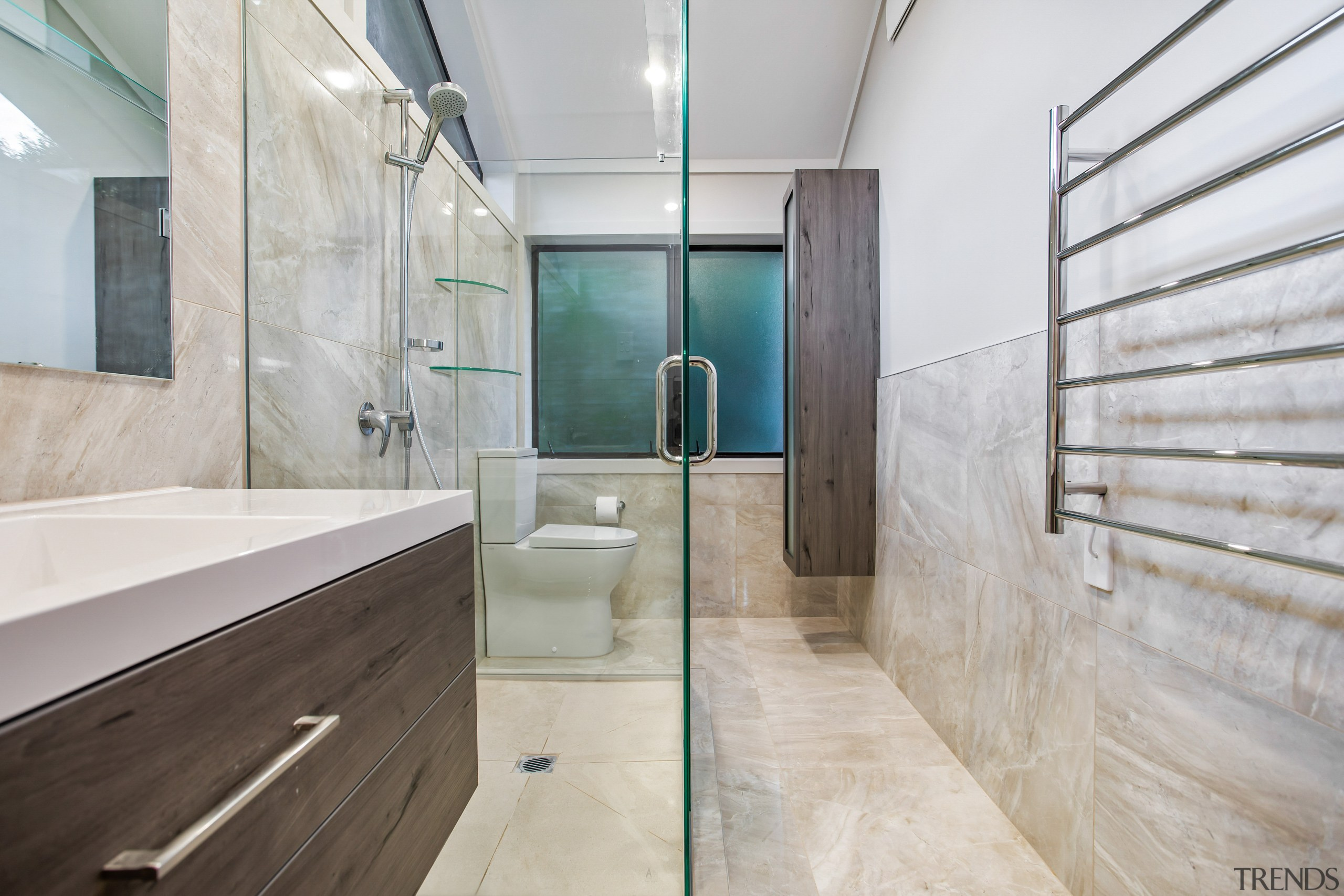 The tall frosted glass storage/display cabinet and vanity architecture, bathroom, building, ceiling, daylighting, estate, floor, flooring, glass, home, house, interior design, loft, property, real estate, room, tile, wall, gray