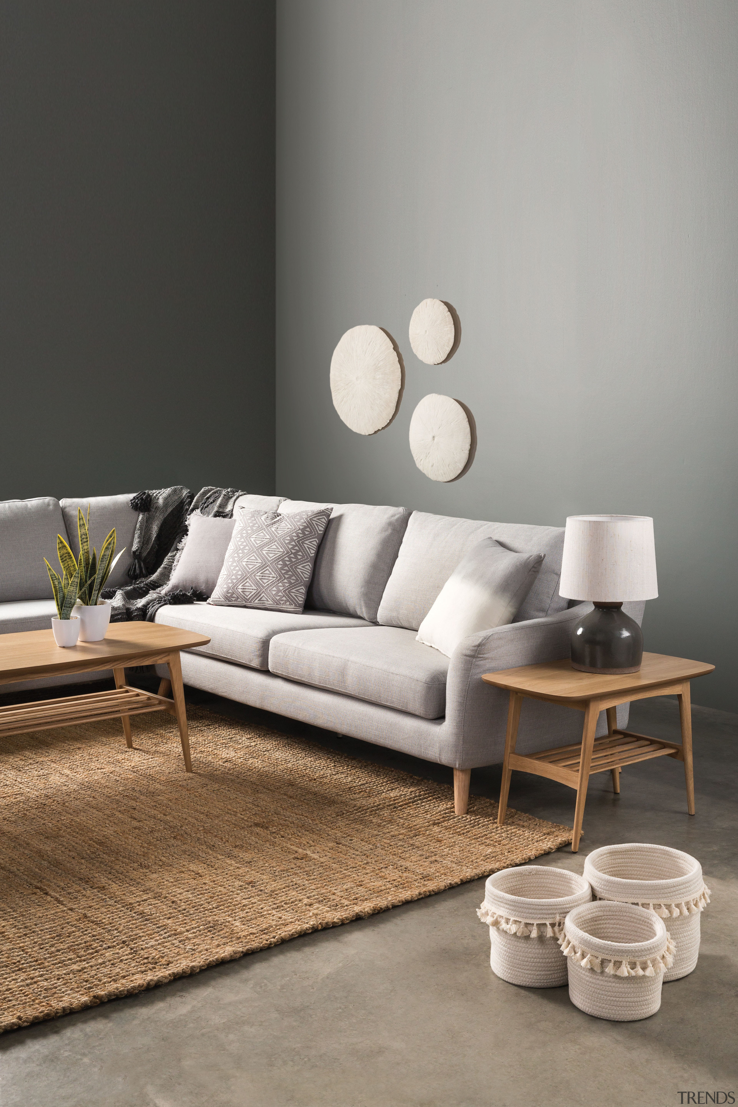 Hampton corner sofa by Nood - Getting the angle, chair, coffee table, couch, floor, flooring, furniture, interior design, living room, loveseat, sofa bed, table, gray