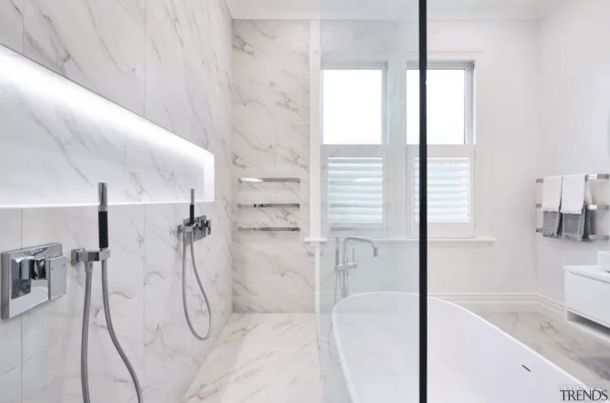 A Floor To Ceiling Glass Shower Wall Gives This Bathroom Bathroom, Floor,