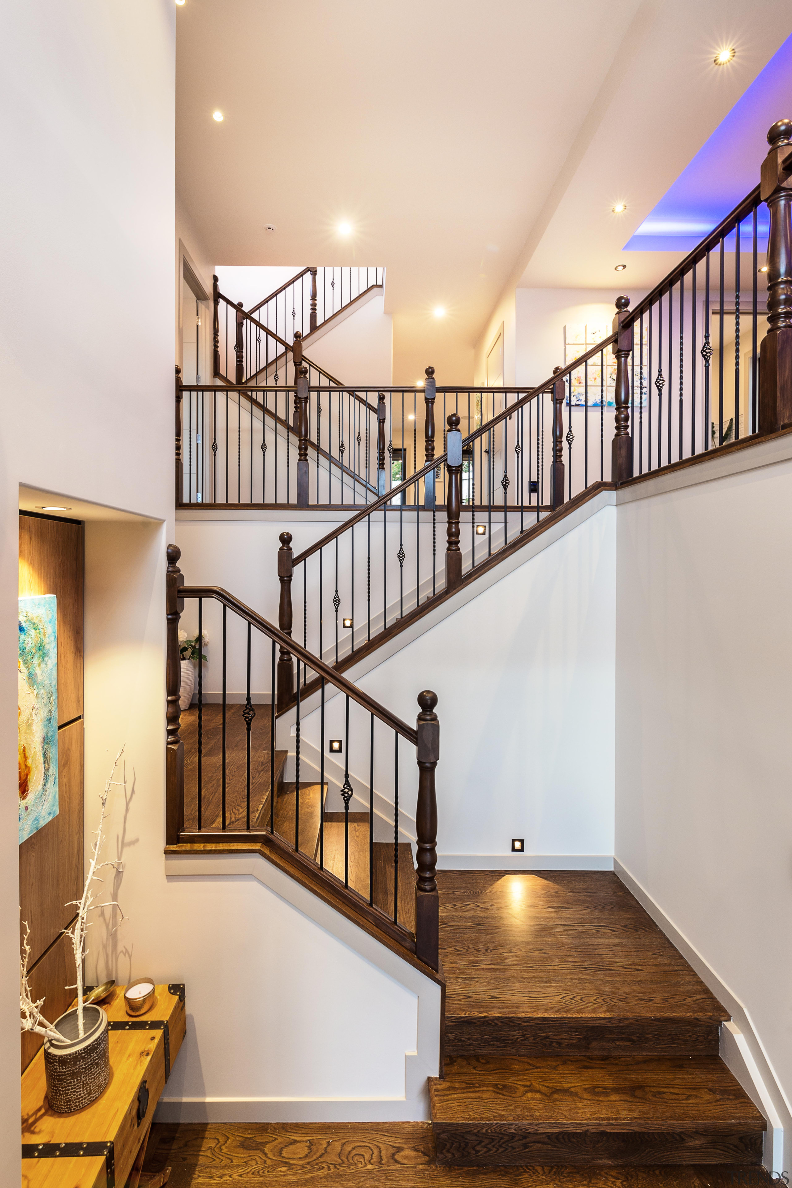 ​​​​​​​Central stairs in this new home are matched apartment, balustrade, handrail, home, interior design, stairs, Continental Stairs, baluster, Chancellor Constrtuction