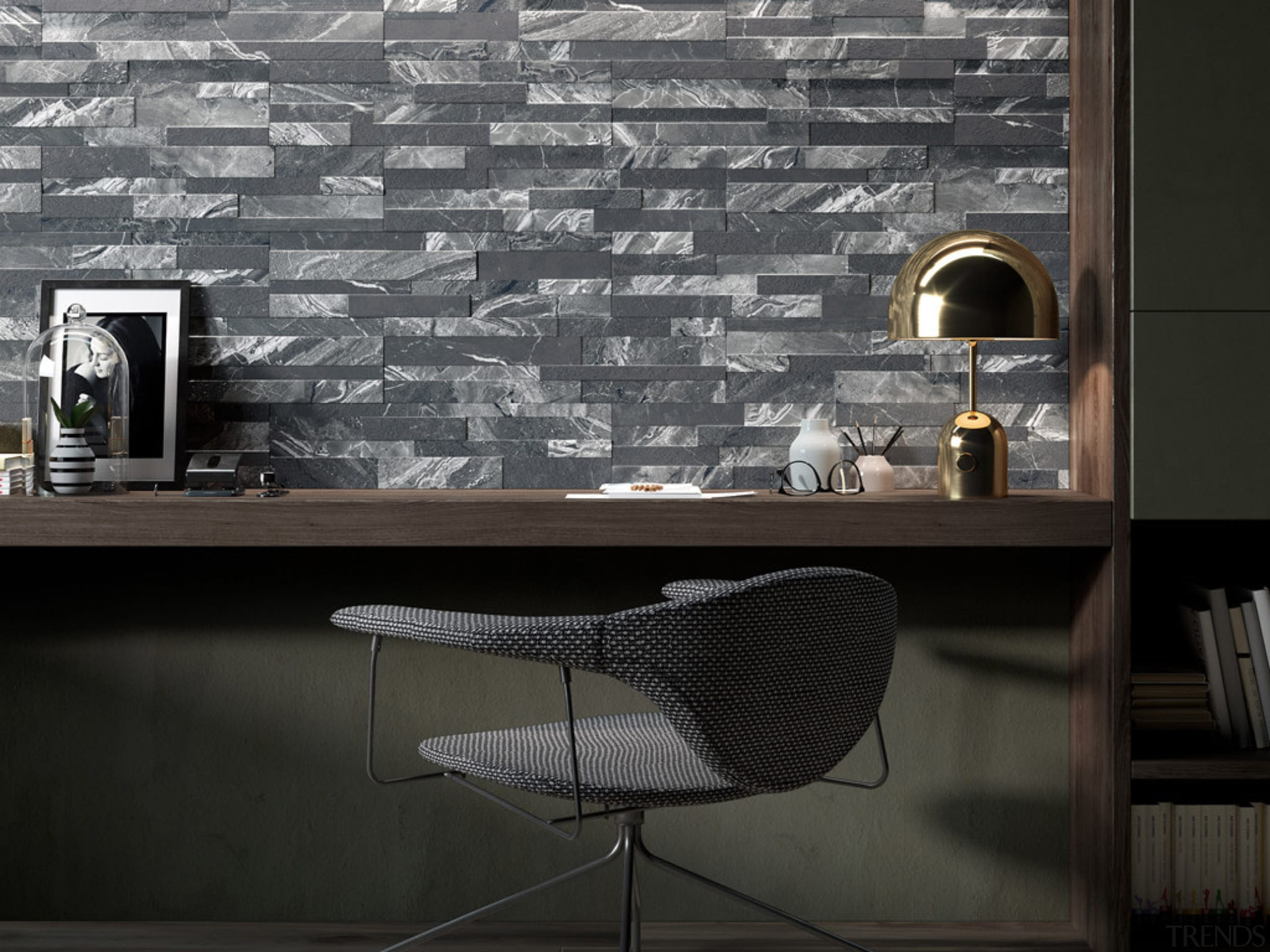Gioia Nero 150x610 - Gioia Nero 150x610 - architecture, black and white, floor, flooring, furniture, interior design, table, tile, wall, wallpaper, black, gray