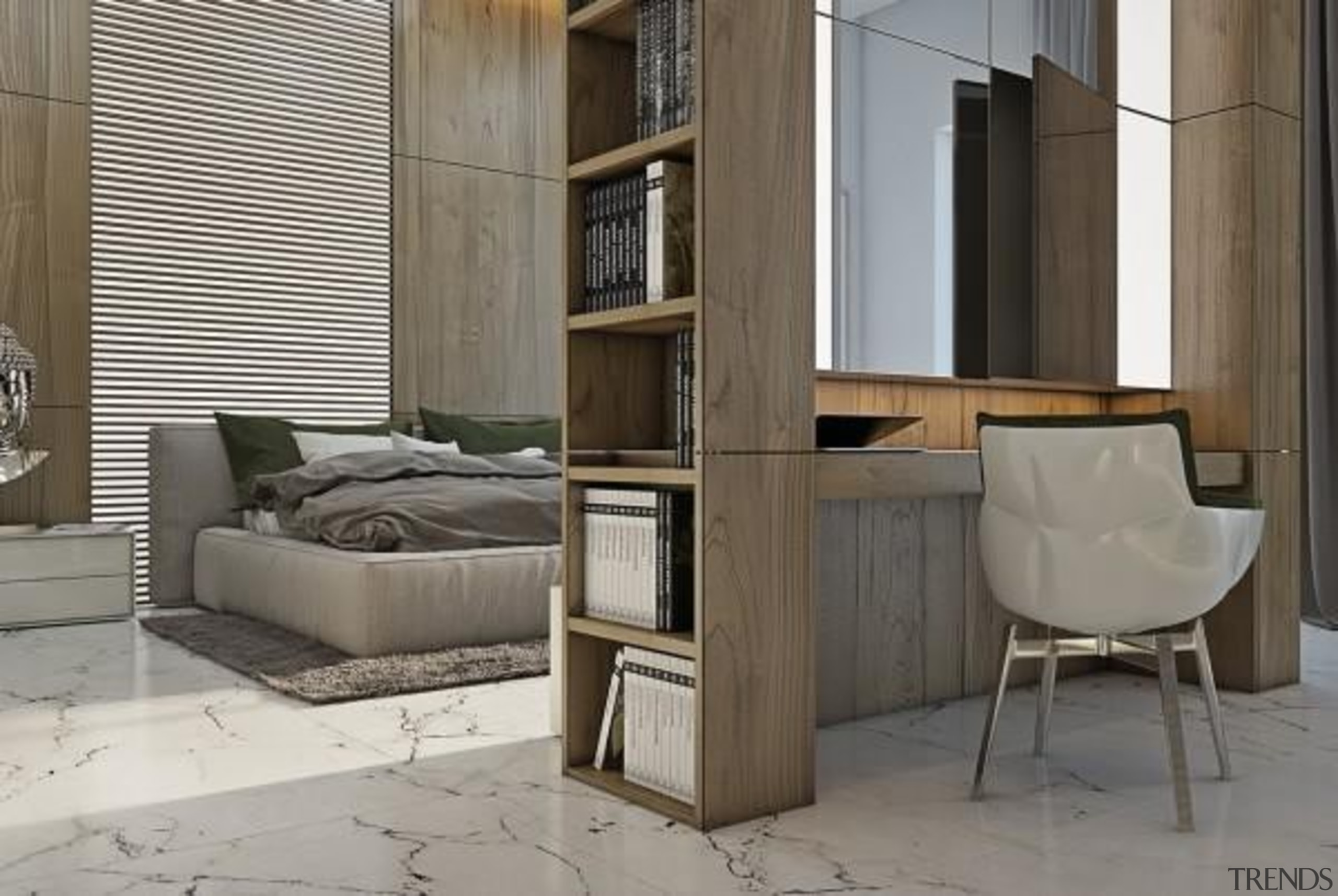 bedroom workplace - Masculine Apartments - floor   floor, furniture, interior design, product design, shelving, table, gray