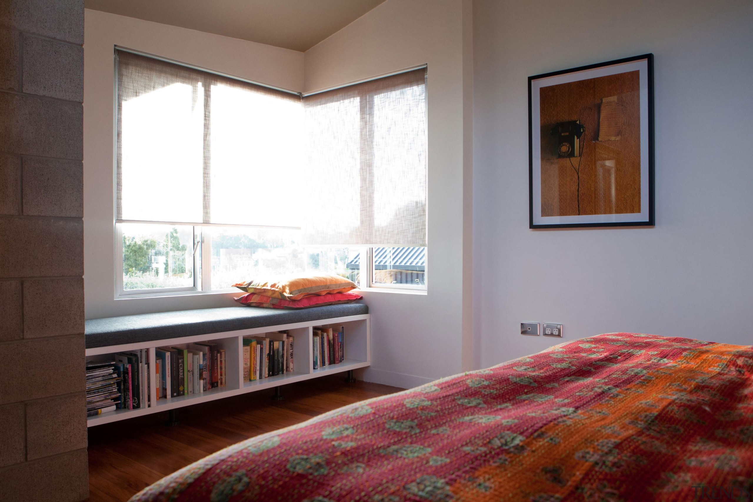 The new window seat in the main bedroom bed, bedroom, ceiling, floor, flooring, furniture, home, interior design, property, real estate, room, window, window covering, wood, gray, red