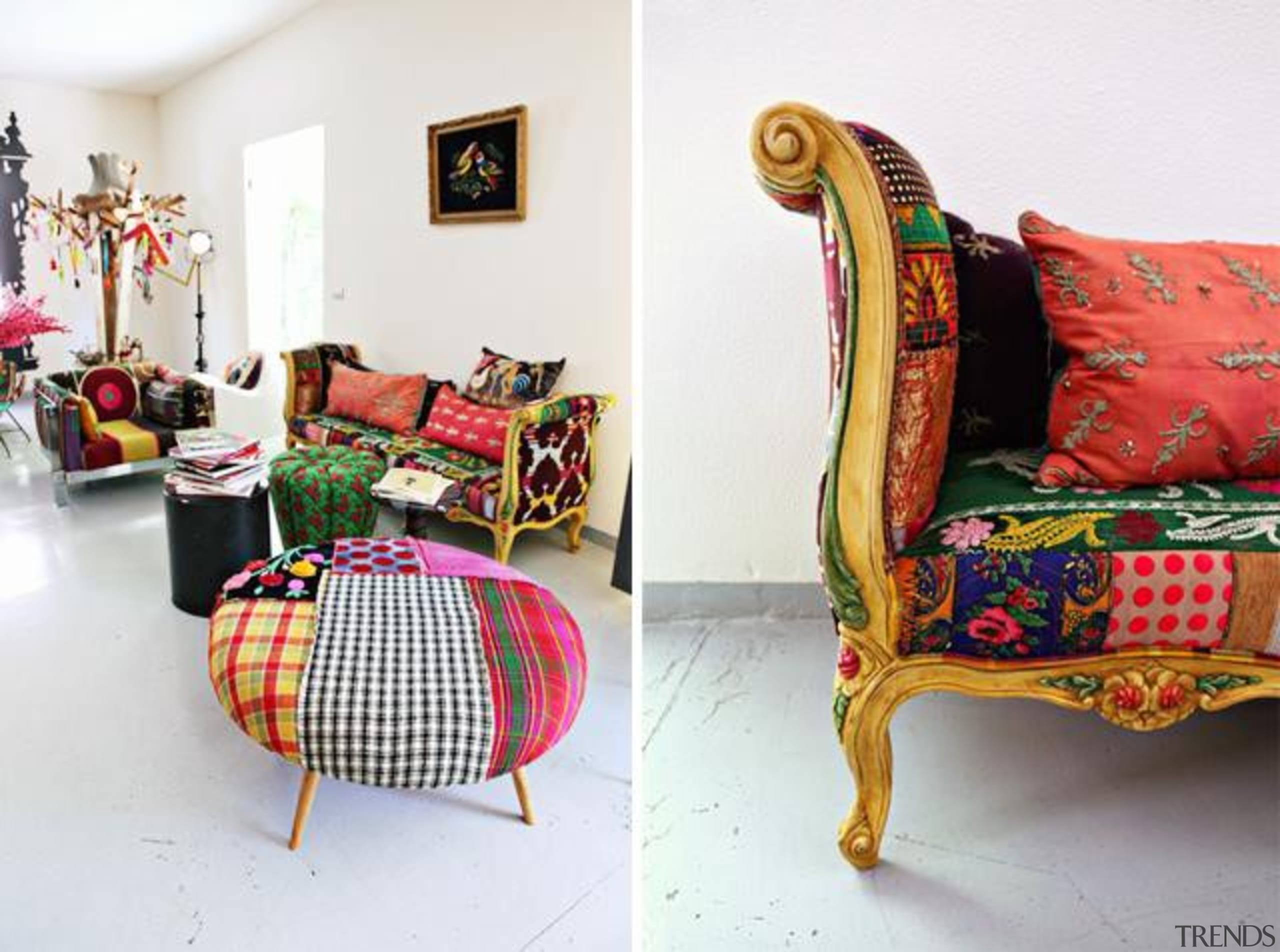 These exuberant pieces of furniture are the fruits chair, couch, cushion, furniture, home, interior design, living room, room, textile, white