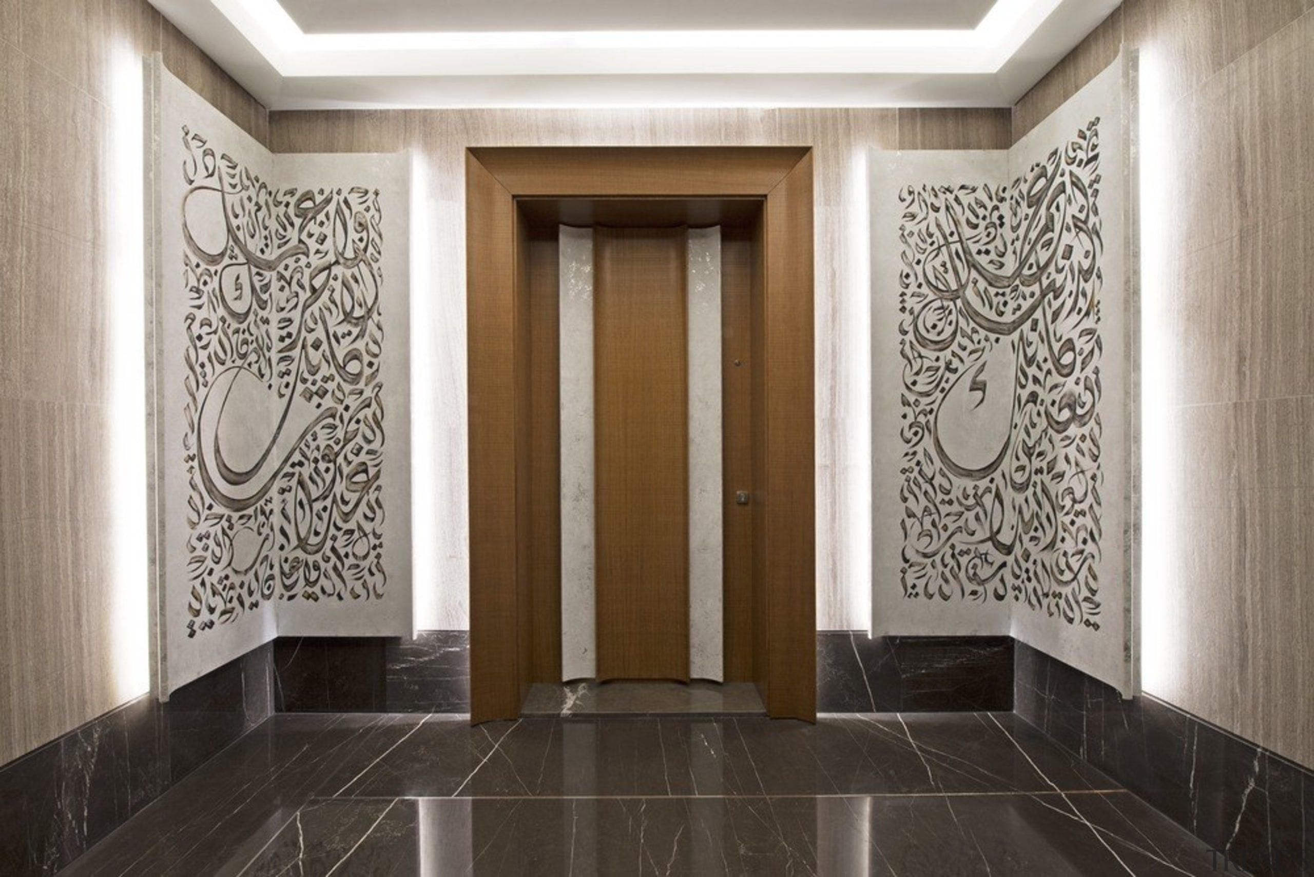 The entrance includes a private elevator area where architecture, building, ceiling, door, floor, flooring, hall, house, interior design, lobby, molding, plaster, property, room, tile, wall, wallpaper, gray