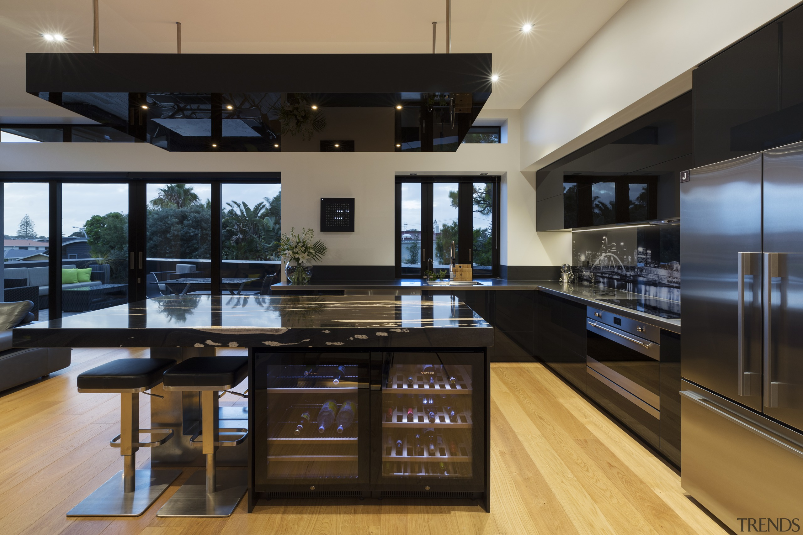 The owners wanted an entertainer's dream kitchen and countertop, interior design, kitchen, black