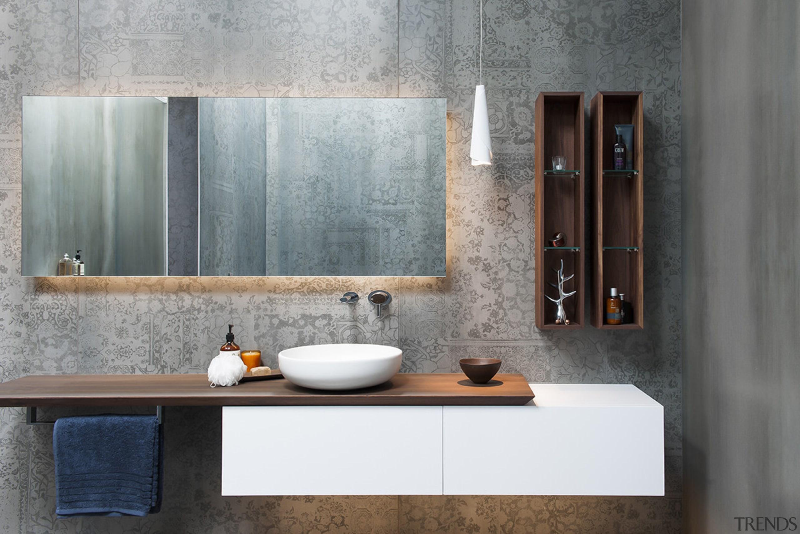 An almost room-height ladder in walnut – matching bathroom,  cabinet, ceramic tiles, flooring, bathroom design, shelf, sink, tap, Minosa Design