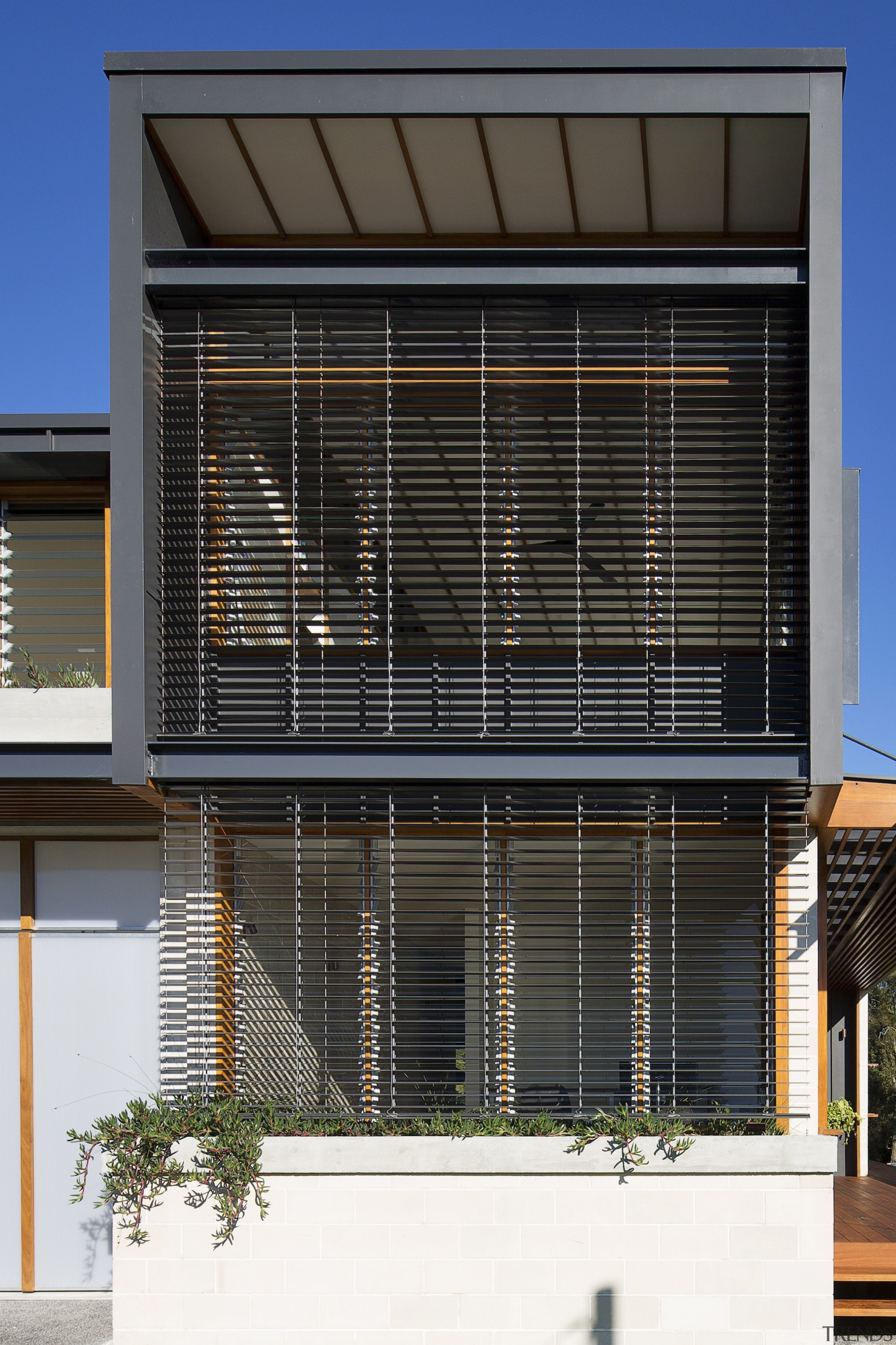 Operable louvers to control sunlight - Operable louvers architecture, building, commercial building, corporate headquarters, daylighting, facade, glass, home, house, real estate, residential area, structure, window, black