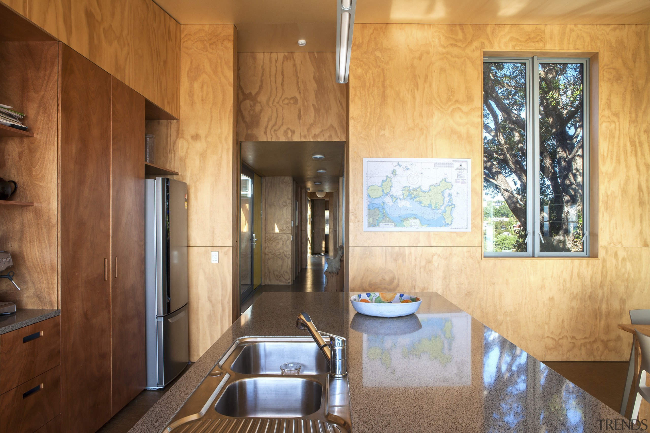 Radiata pine ply clads the walls throughout the architecture, cabinetry, ceiling, countertop, estate, home, interior design, real estate, room, wood, brown, orange