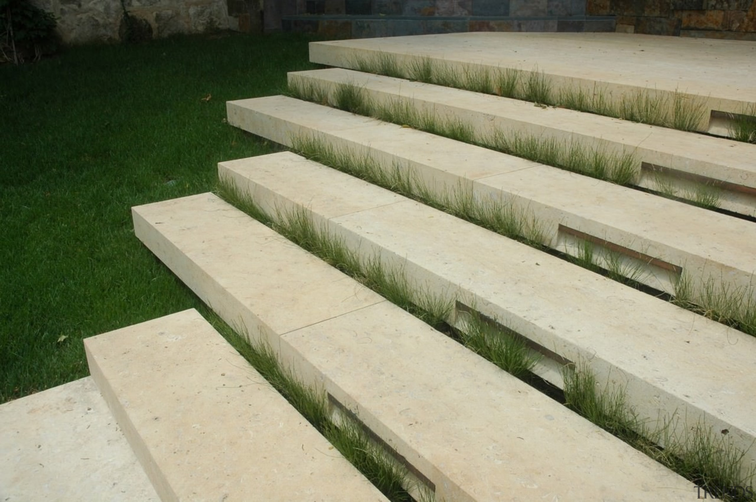 Stone steps connect the different areas - Stone grass, walkway, wall, wood, orange