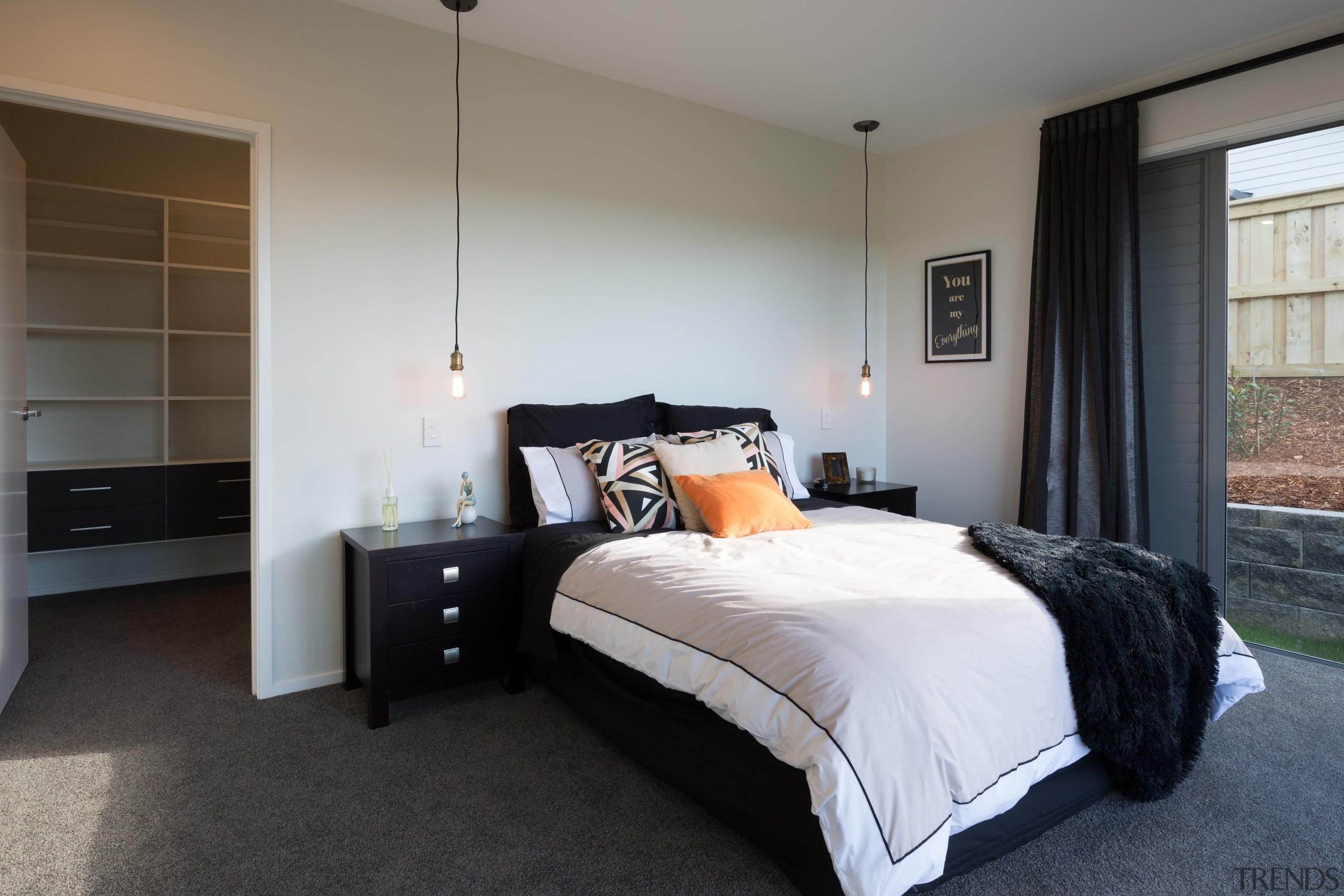 Landmark Homes Riverhead Design Master Bedroom - Landmark bed frame, bedroom, floor, furniture, home, interior design, property, real estate, room, wall, window, gray, black