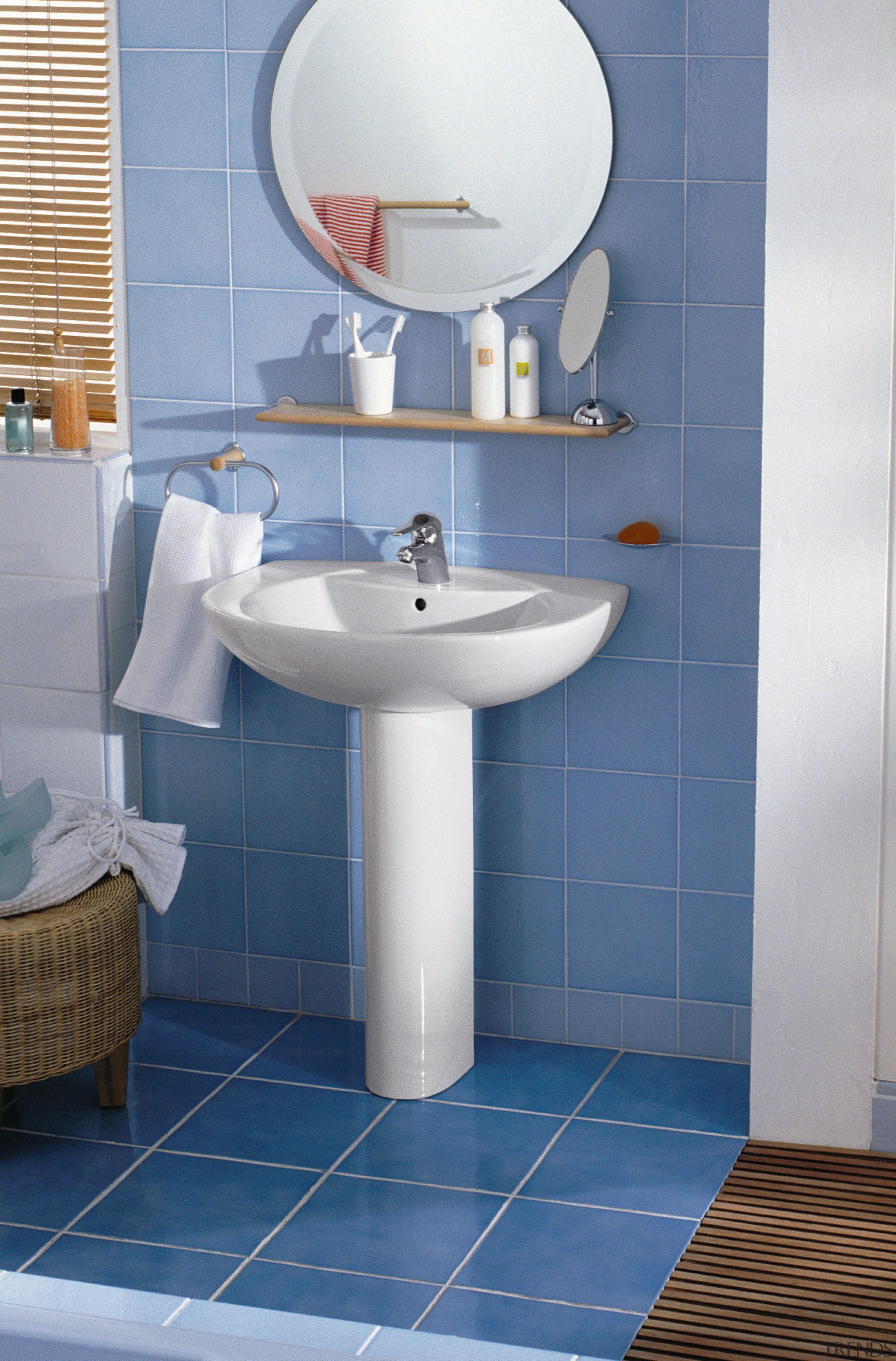 Bathroom with blue floor and wall tiles, white angle, bathroom, bathroom accessory, bathroom sink, ceramic, floor, flooring, interior design, plumbing fixture, product, product design, public toilet, room, sink, tap, tile, toilet, toilet seat, wall, blue, gray