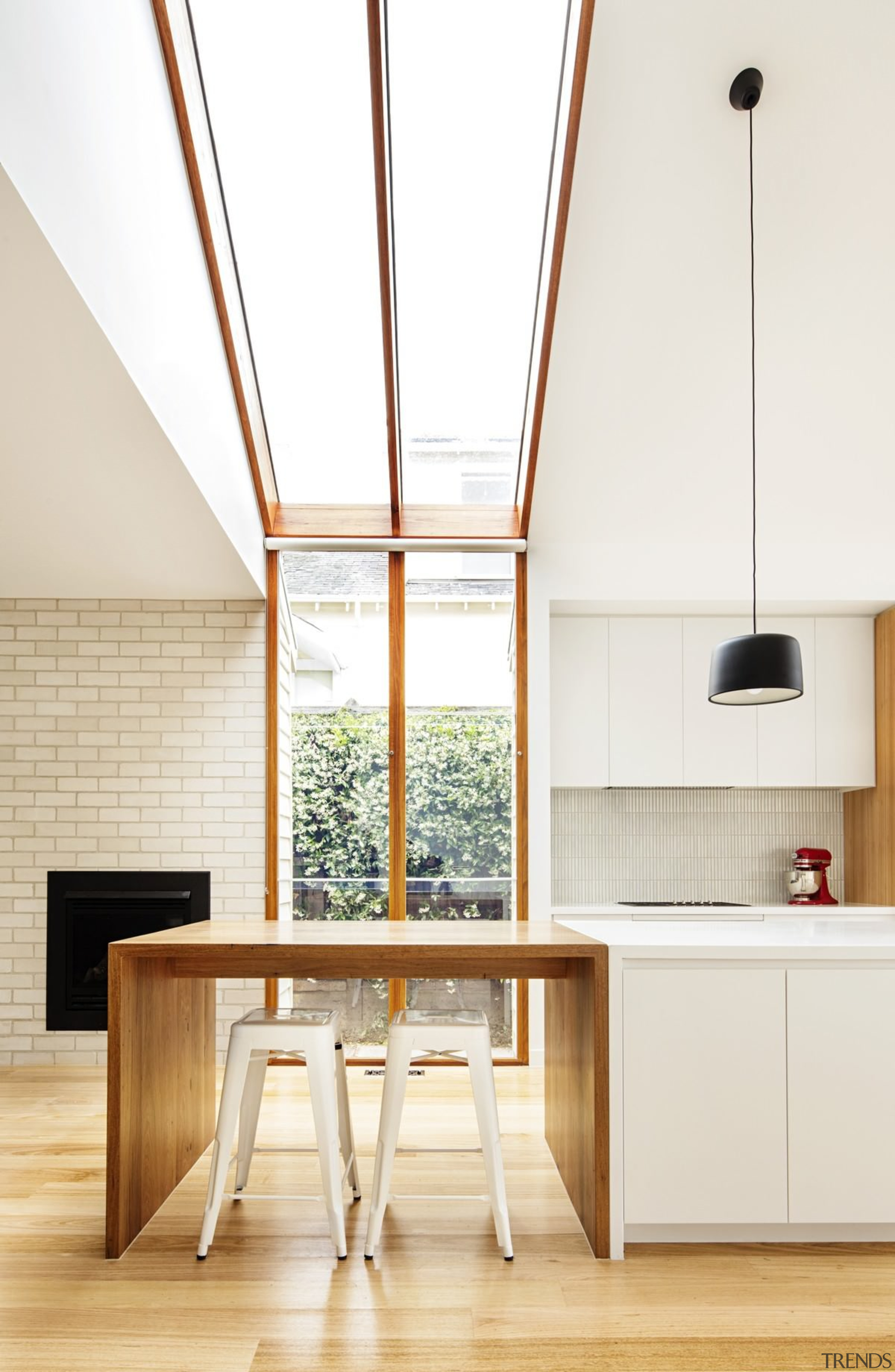 These windows have been designed for maximum light architecture, ceiling, daylighting, furniture, house, interior design, kitchen, product design, table, wood, white