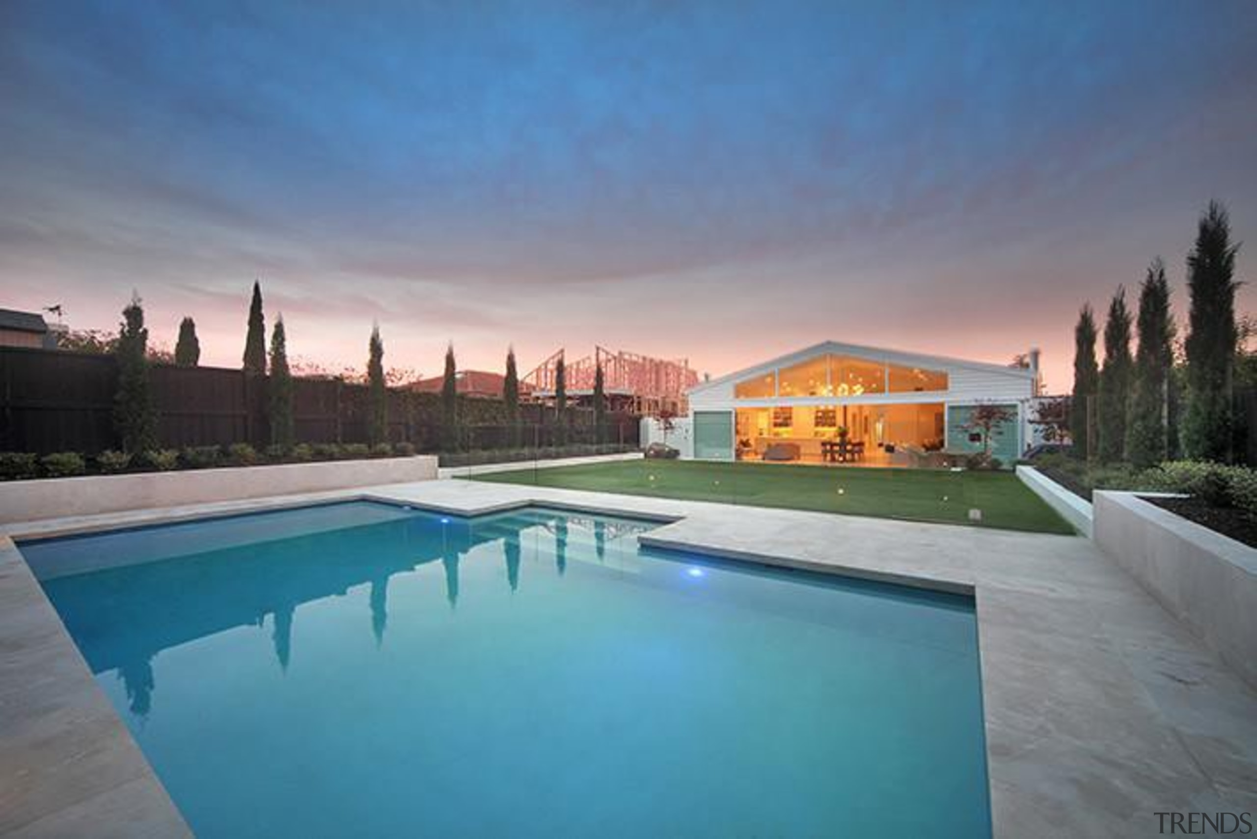 Kenny Rd. 1.5 - Kenny Rd. 1.5 - architecture, estate, home, house, leisure, lighting, property, real estate, reflection, residential area, resort, sky, swimming pool, villa, water, gray, teal