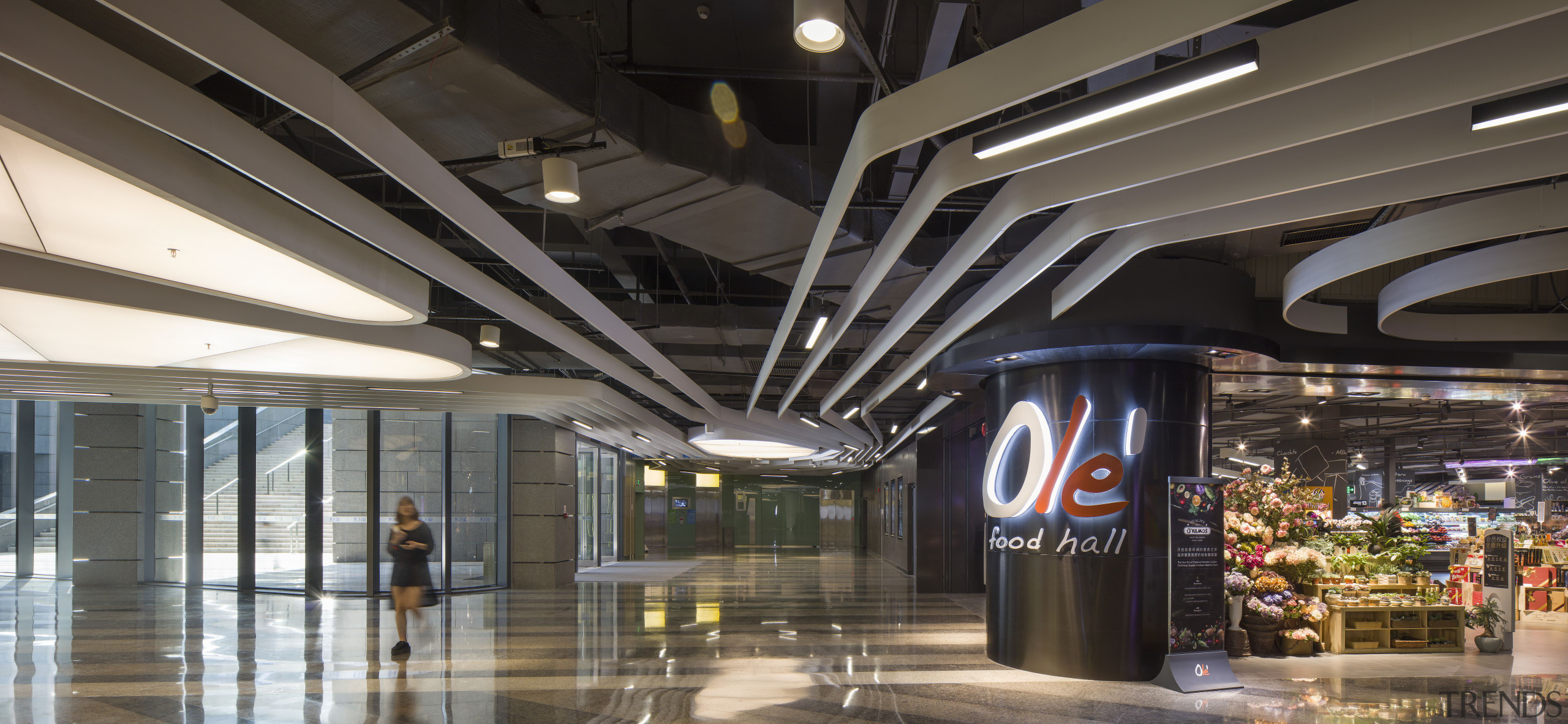 One of the added attractions at Shekou Gateway airport terminal, building, ceiling, lobby, metropolitan area, retail, shopping mall, black, gray
